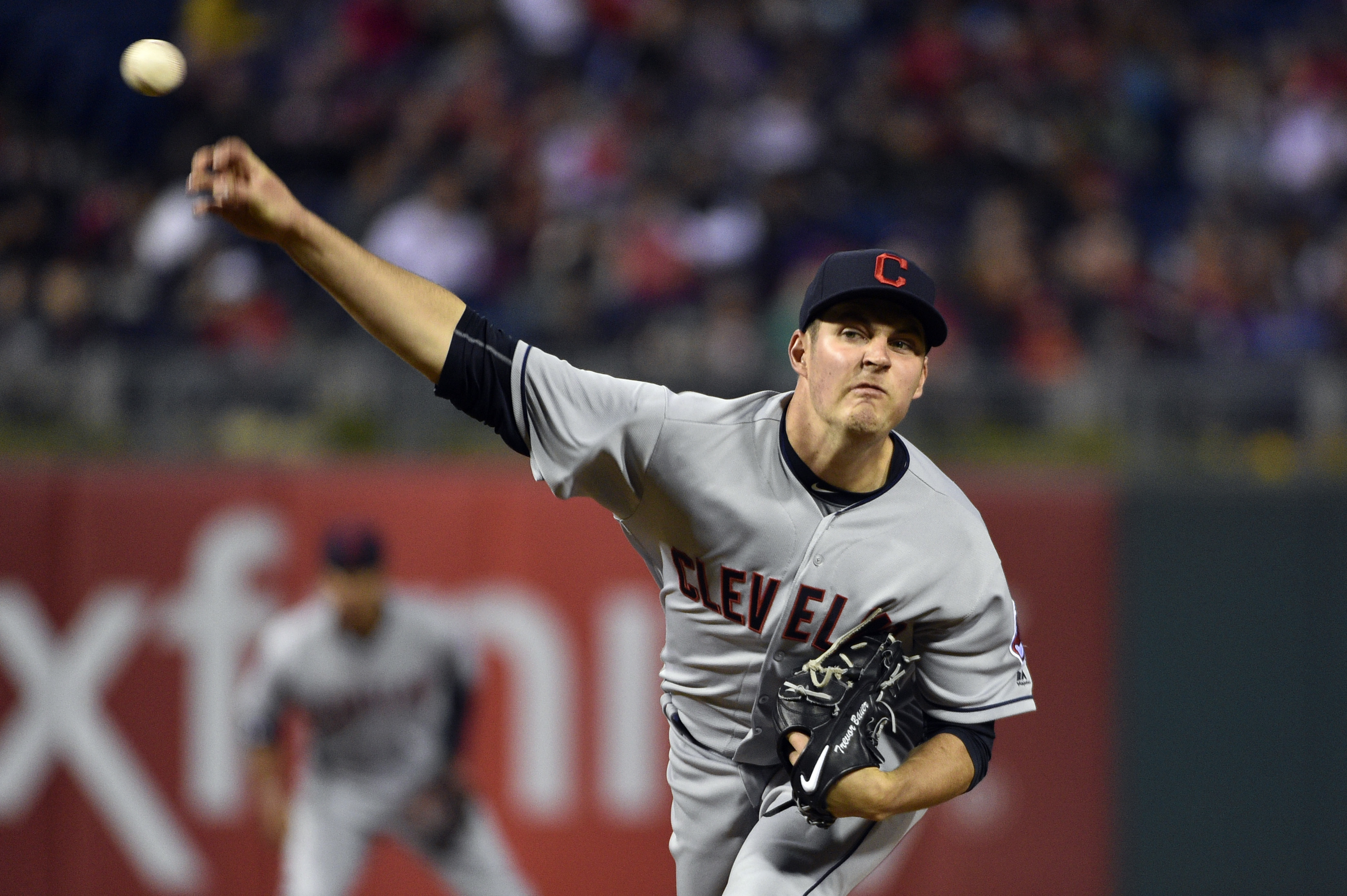 Cleveland Indians' Trevor Bauer throws during the third inning of a baseball game against the Philadelphia Phillies, Saturday, April 30, 2016, in Philadelphia. (AP Photo/Derik Hamilton)