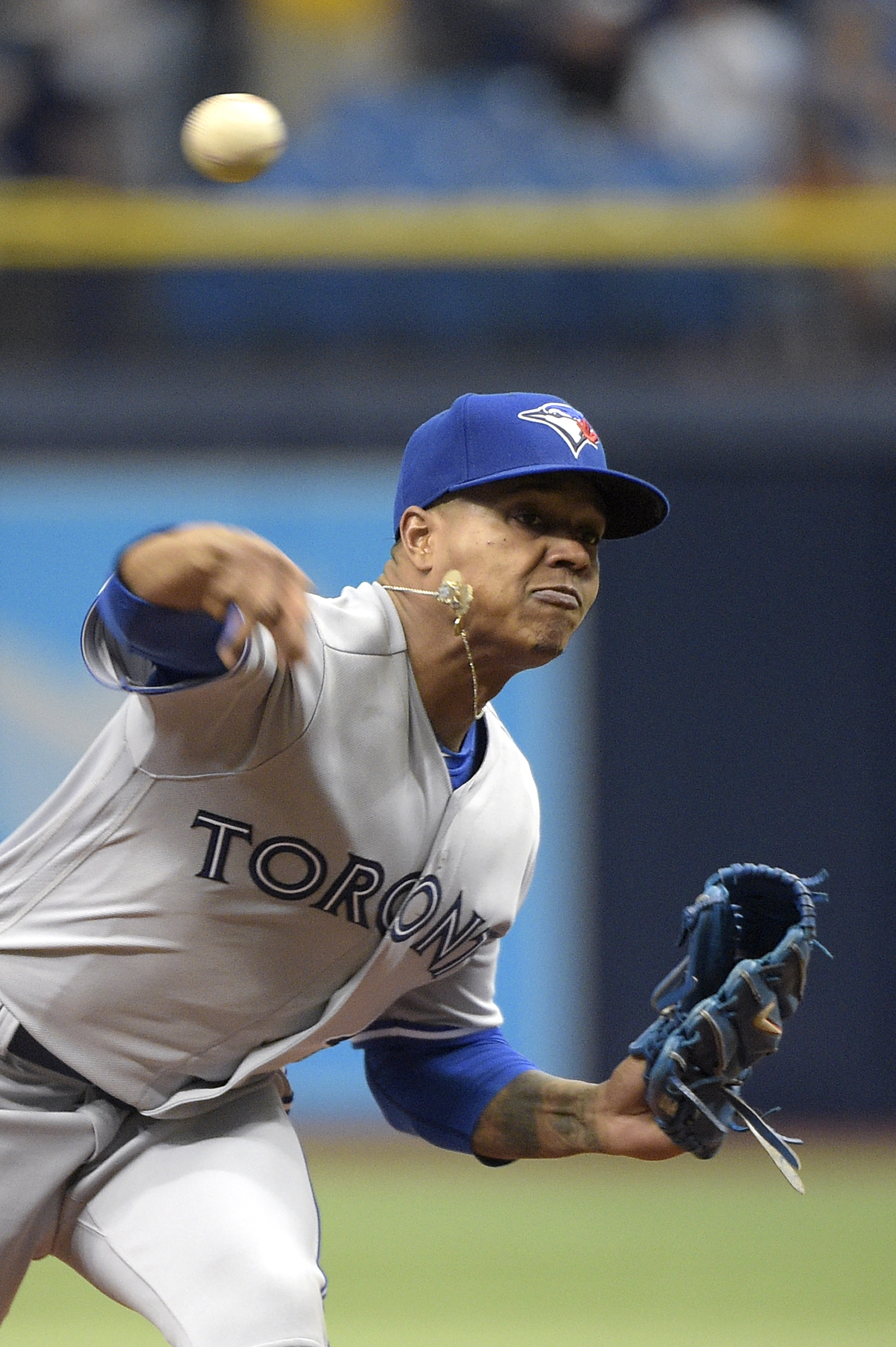 Toronto Blue Jays starting pitcher Marcus Stroman throws from the mound during the first inning of a baseball game against the Tampa Bay Rays in St. Petersburg, Fla., Sunday, May 1, 2016. (AP Photo/Phelan M. Ebenhack)