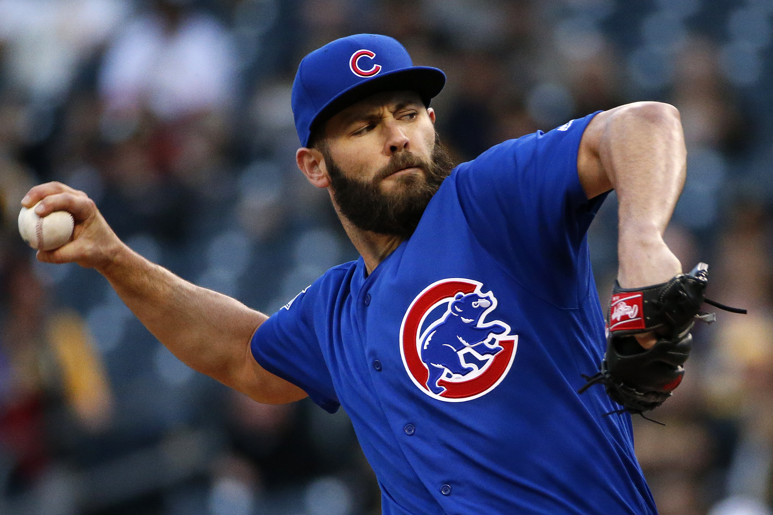 Chicago Cubs starting pitcher Jake Arrieta delivers during the first inning of a baseball game against the Pittsburgh Pirates in Pittsburgh, Tuesday, May 3, 2016. (AP Photo/Gene J. Puskar)