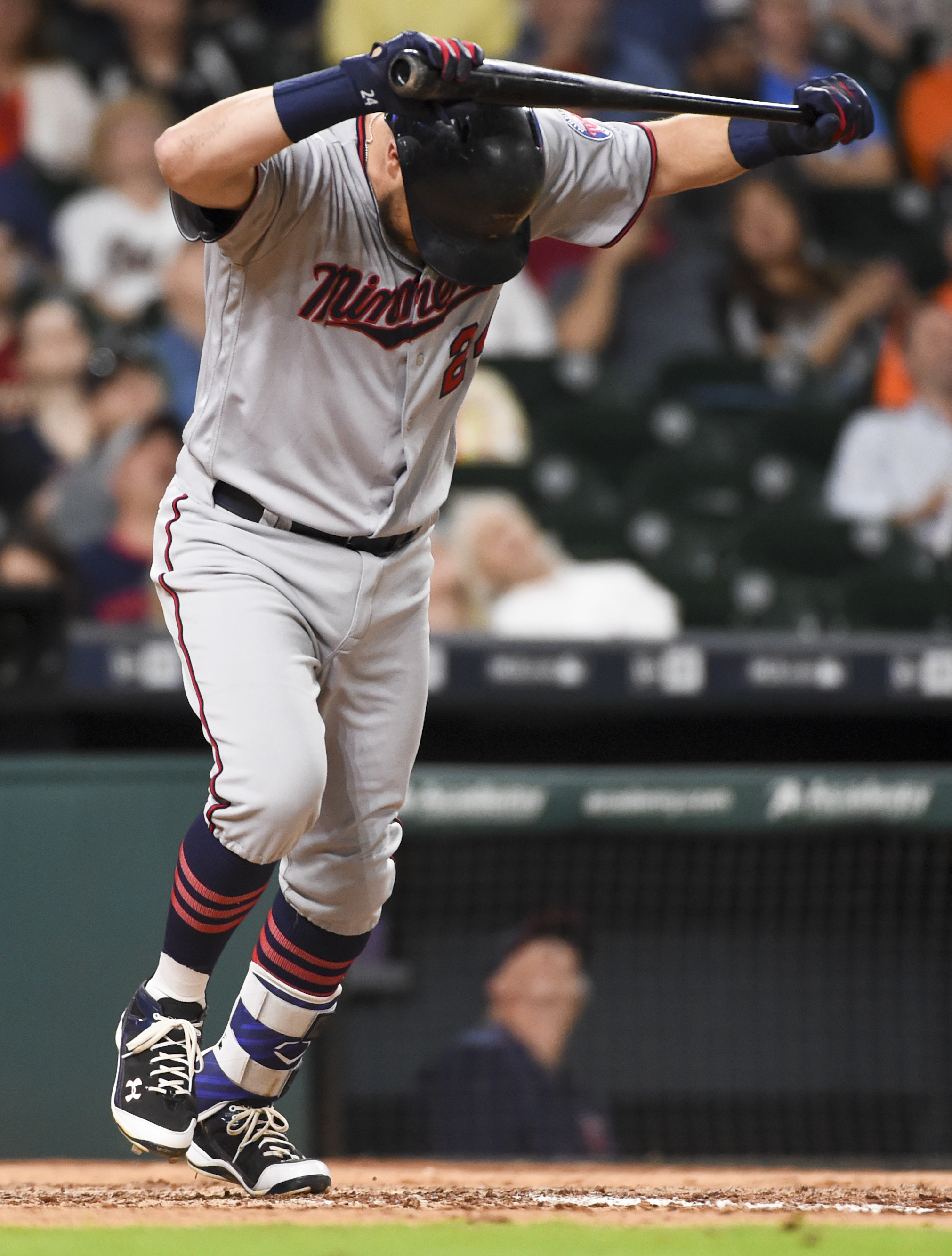 Minnesota Twins' Trevor Plouffe reacts to flying out in the eighth inning of a baseball game against the Houston Astros, Tuesday, May 3, 2016, in Houston. (AP Photo/Eric Christian Smith)
