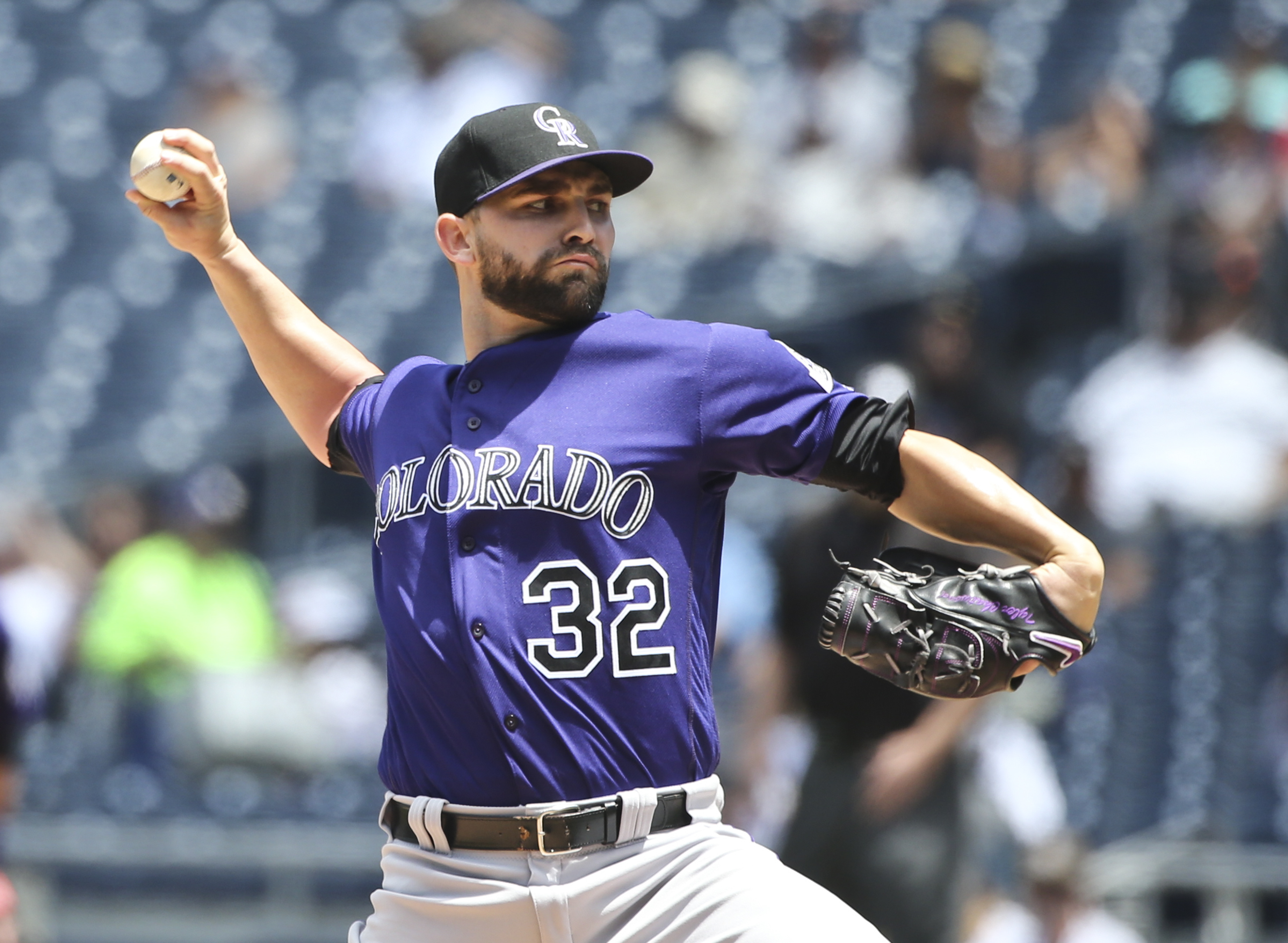 Colorado Rockies starting pitcher Tyler Chatwood throws against the San Diego Padres in the first inning of a baseball game Wednesday, May 4, 2016, in San Diego. (AP Photo/Lenny Ignelzi)