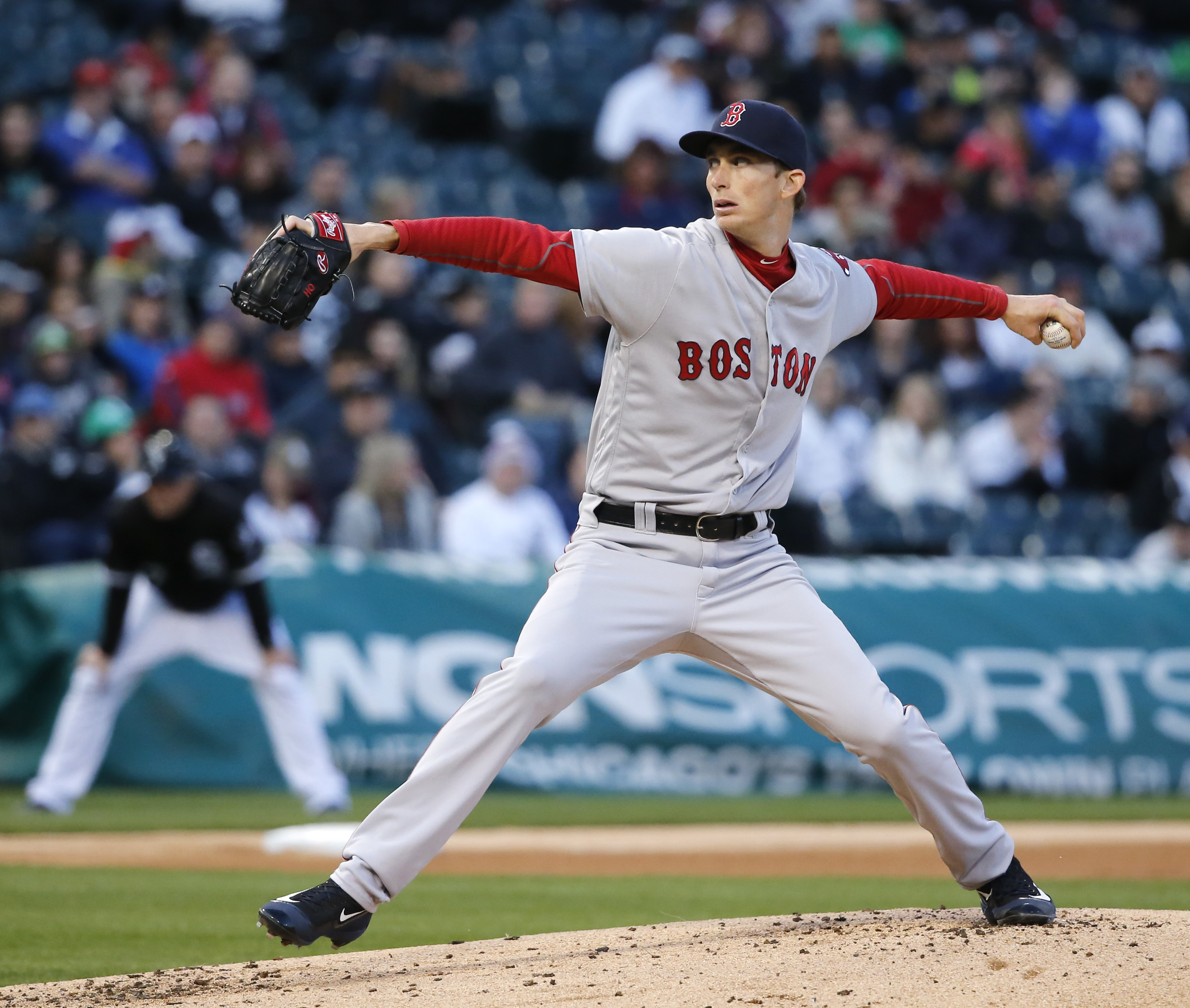 Boston Red Sox starting pitcher Henry Owens delivers during the first inning of a baseball game against the Chicago White Sox, Thursday, May 5, 2016, in Chicago. (AP Photo/Charles Rex Arbogast)
