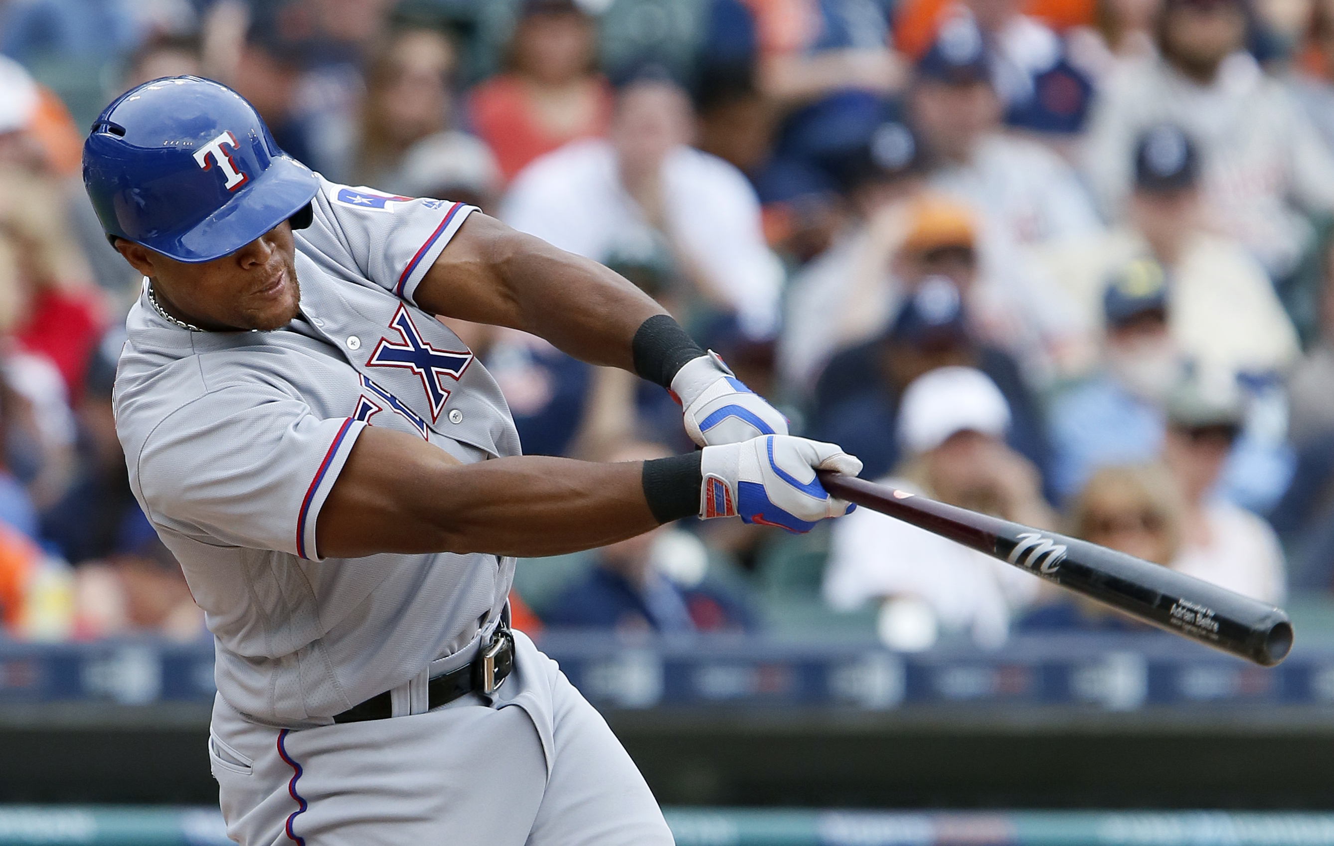 Texas Rangers' Adrian Beltre hits a two-run home run to tie the baseball game against the Detroit Tigers in the sixth inning Saturday, May 7, 2016, in Detroit. (AP Photo/Duane Burleson)