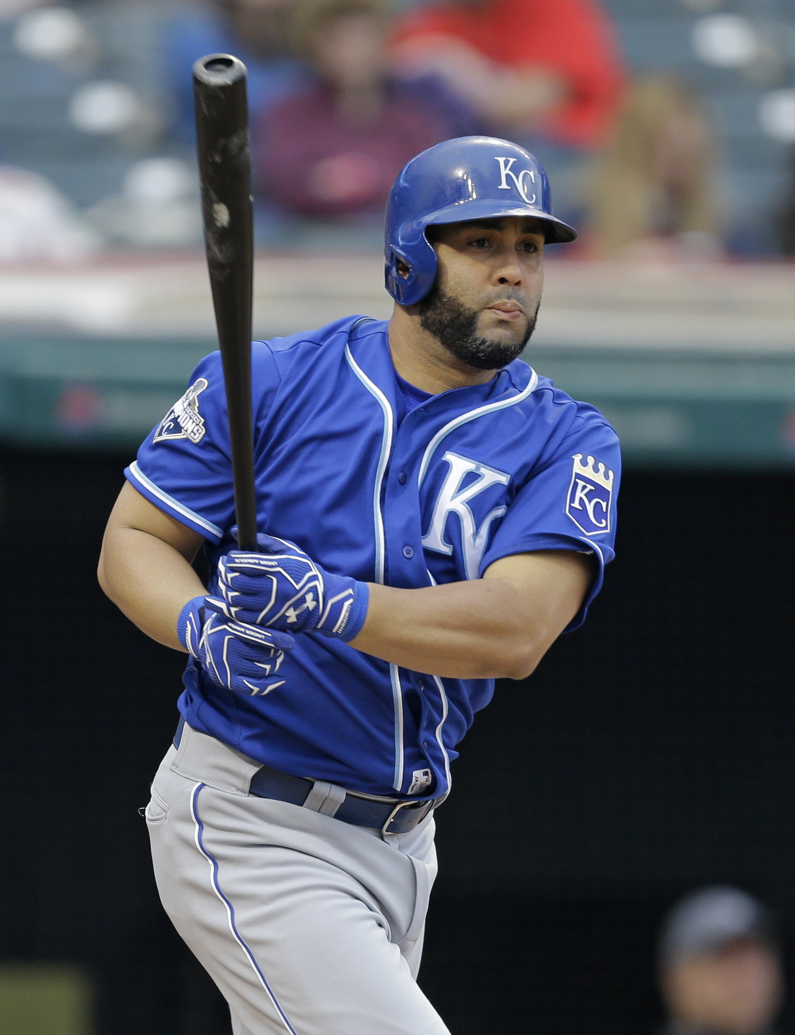 Kansas City Royals' Kendrys Morales watches his RBI-single off Cleveland Indians relief pitcher Jeff Manship in the eighth inning of a baseball game, Saturday, May 7, 2016, in Cleveland. Lorenzo Cain scored on the play. (AP Photo/Tony Dejak)