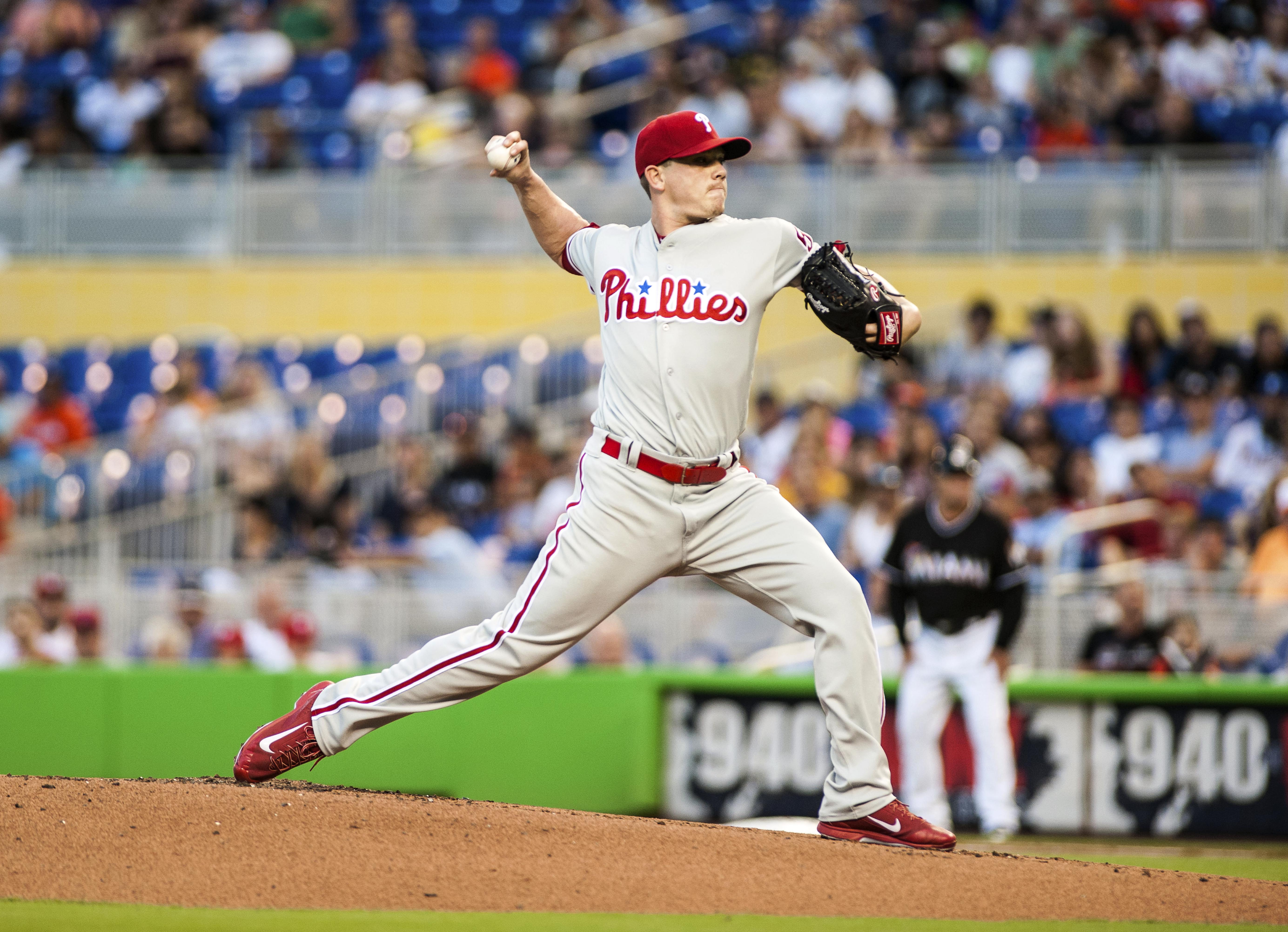 Philadelphia Phillies starting pitcher Jeremy Hellickson throws during the first inning of a baseball game against the Miami Marlins, Saturday May 7, 2016, in Miami. (AP Photo/Gaston De Cardenas)