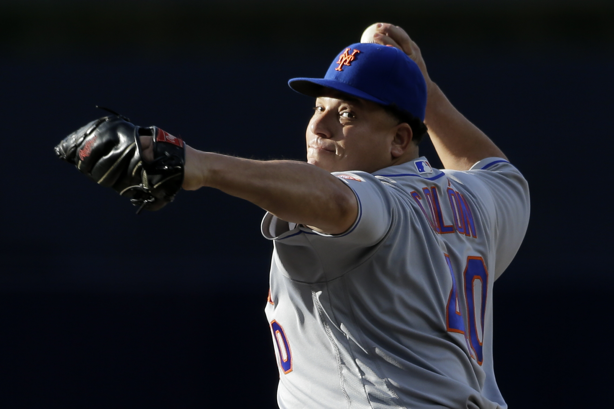 New York Mets starting pitcher Bartolo Colon pitches to a San Diego Padres batter during the first inning of a baseball game Saturday, May 7, 2016, in San Diego. (AP Photo/Gregory Bull)