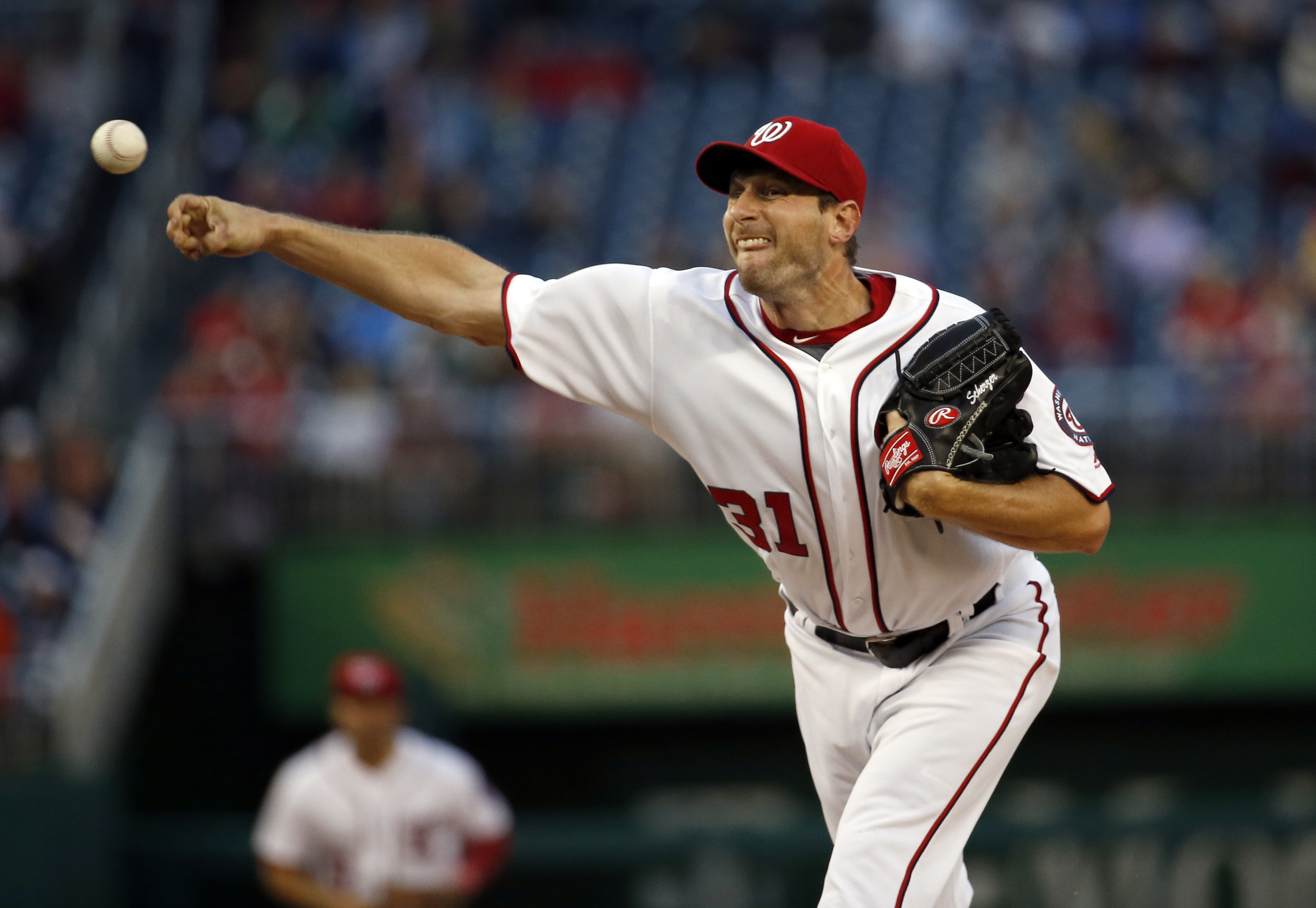 Washington Nationals starting pitcher Max Scherzer throws during the first inning of the team's baseball game against the Detroit Tigers at Nationals Park, Wednesday, May 11, 2016, in Washington. (AP Photo/Alex Brandon)