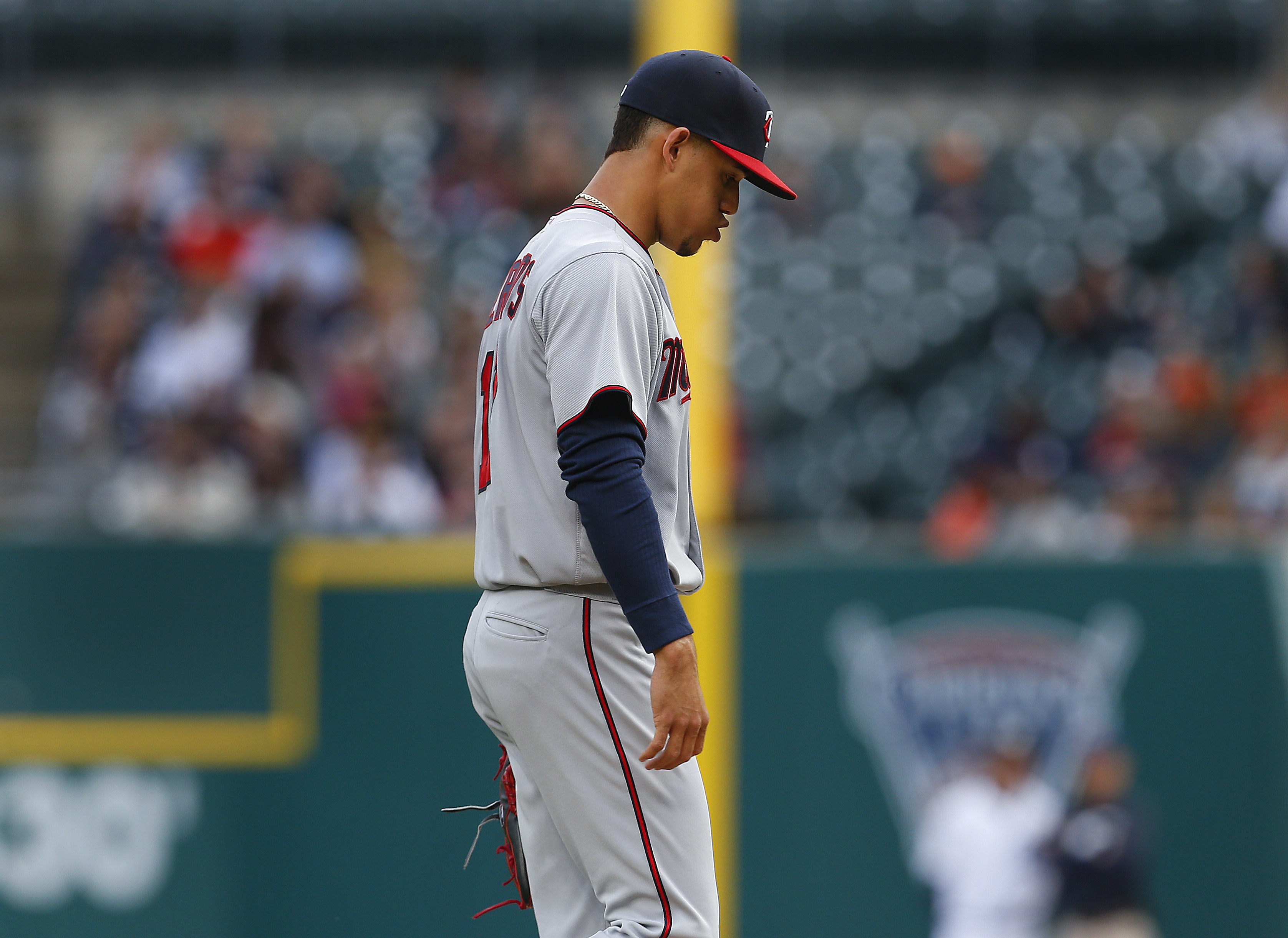 Minnesota Twins pitcher Jose Berrios leaves the field after being relieved against the Detroit Tigers in the first inning of a baseball game, Monday, May 16, 2016 in Detroit. (AP Photo/Paul Sancya)