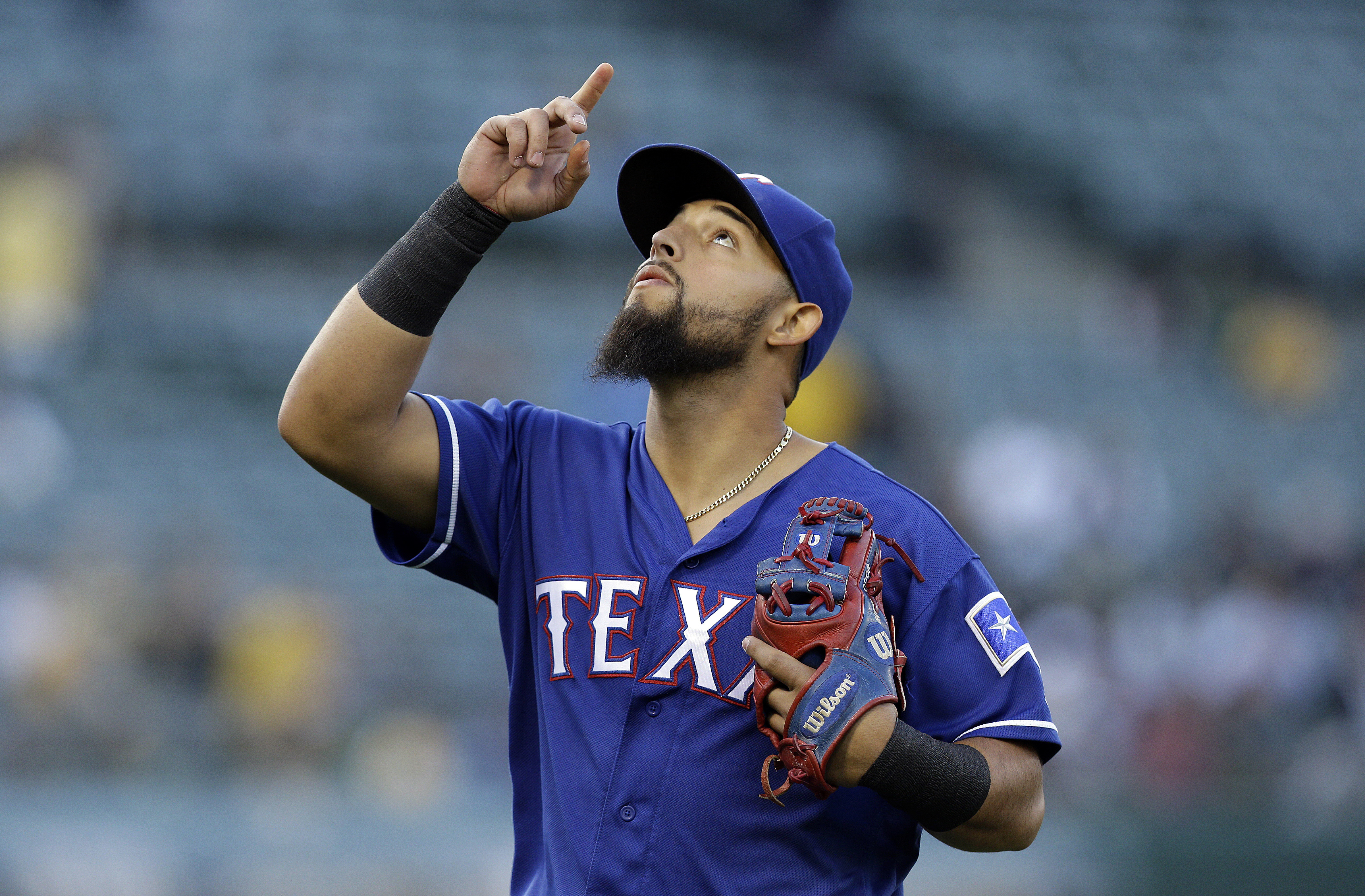 Texas Rangers' Rougned Odor gestures prior to a baseball game against the Oakland Athletics, Monday, May 16, 2016, in Oakland, Calif. (AP Photo/Ben Margot)
