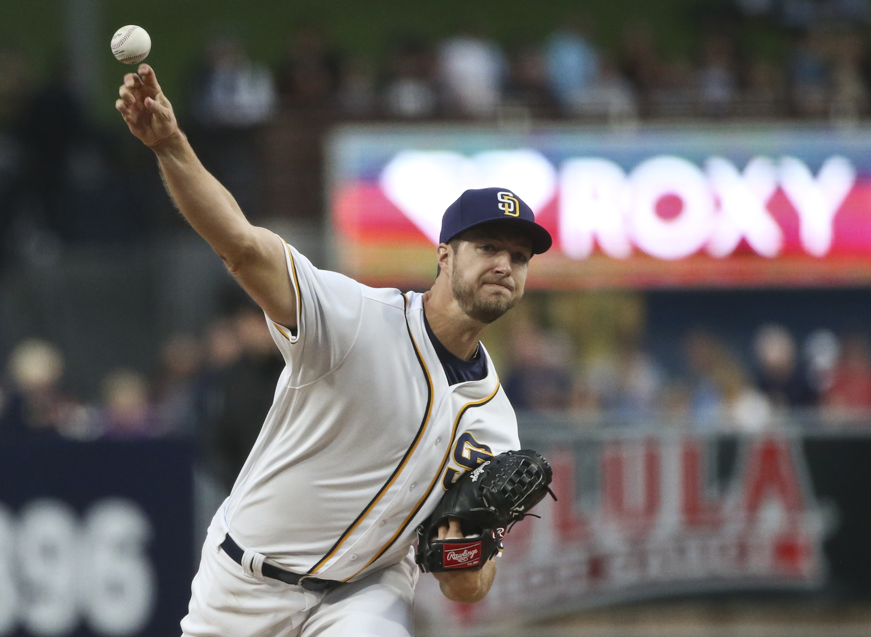 San Diego Padres starting pitcher Colin Rea throws against the San Francisco Giants during the first inning of a baseball game Tuesday, May 17, 2016, in San Diego. (AP Photo/Lenny Ignelzi)