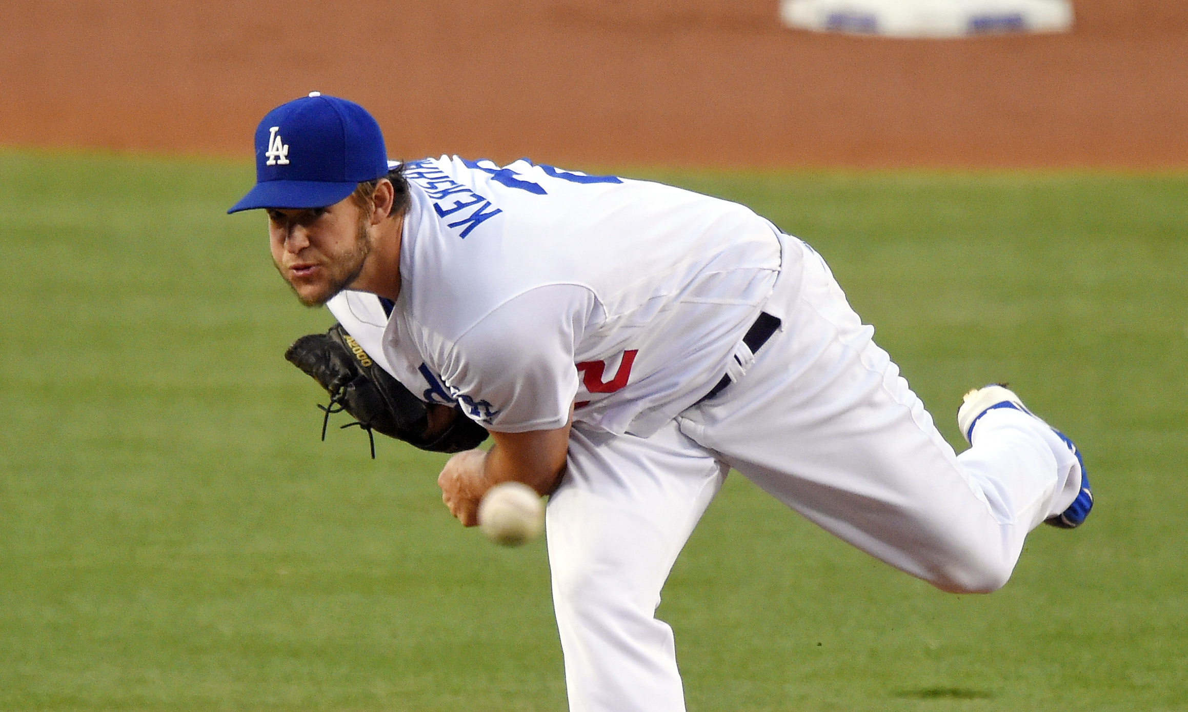 Los Angeles Dodgers starting pitcher Clayton Kershaw throws during the second inning of a baseball game against the Los Angeles Angels, Tuesday, May 17, 2016, in Los Angeles. (AP Photo/Mark J. Terrill)