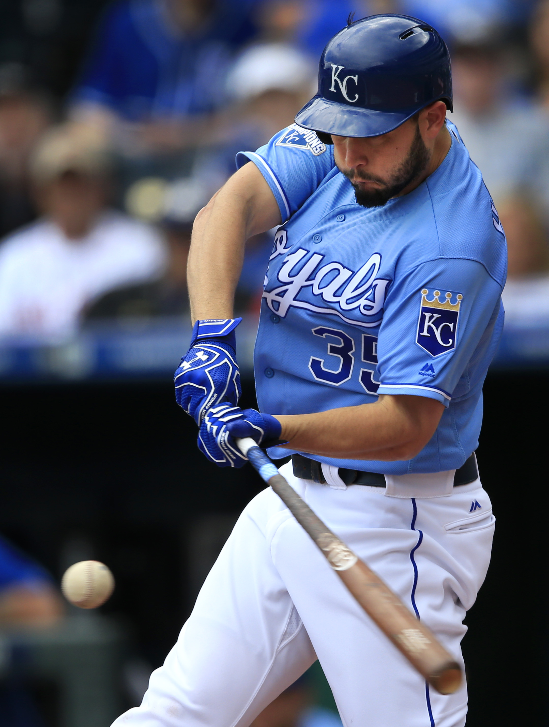 RETRANSMITTING TO REMOVE SCORE IN SECOND SENTENCE Kansas City Royals' Eric Hosmer hits a two-run home run off Boston Red Sox starting pitcher Steven Wright during the first inning of a baseball game at Kauffman Stadium in Kansas City, Mo., Wednesday, May