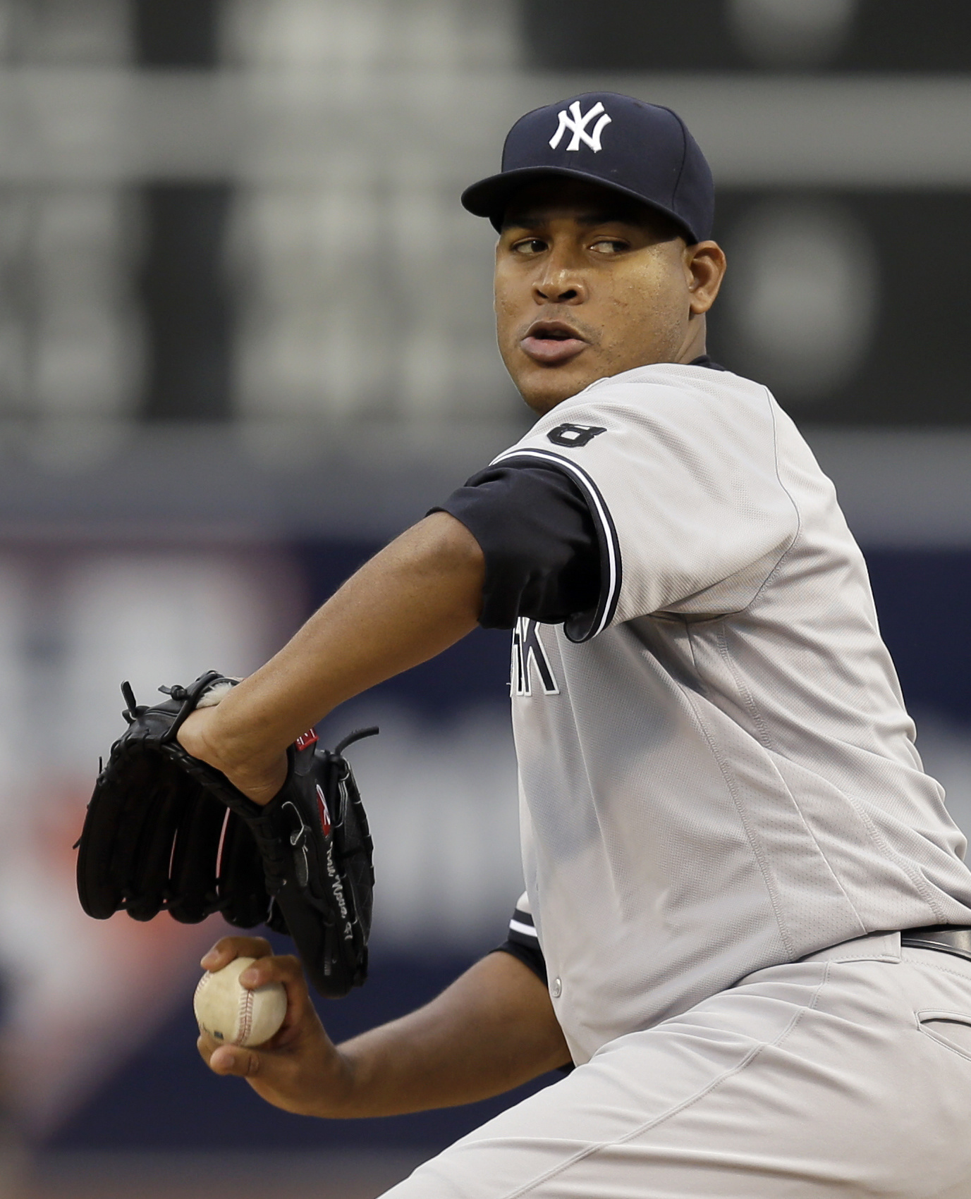 New York Yankees pitcher Ivan Nova works against the Oakland Athletics during the first inning of a baseball game Thursday, May 19, 2016, in Oakland, Calif. (AP Photo/Ben Margot)