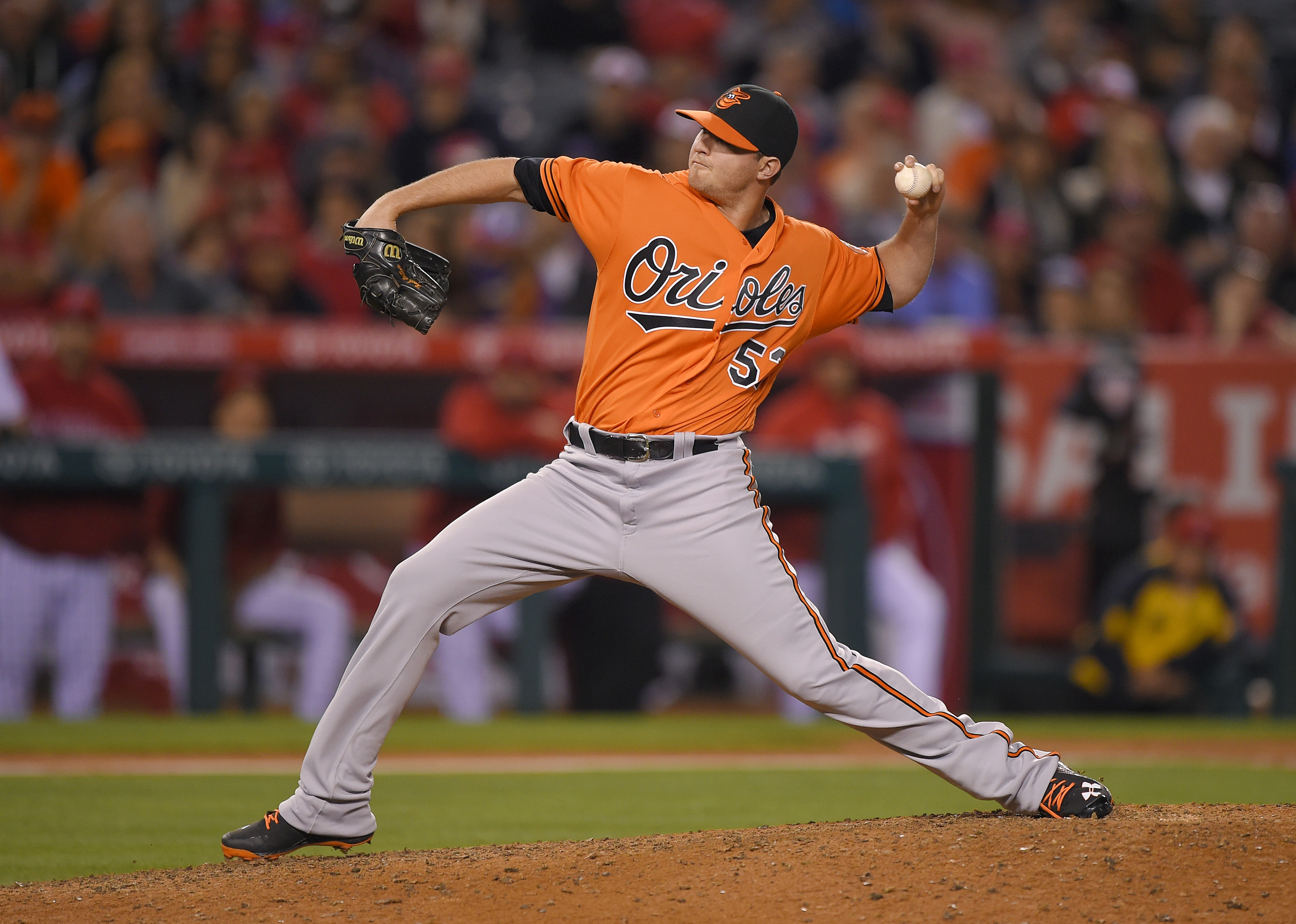 Baltimore Orioles relief pitcher Zach Britton throws during the ninth inning of a baseball game against the Los Angeles Angels, Saturday, May 21, 2016, in Anaheim, Calif. The Orioles won 3-1. (AP Photo/Mark J. Terrill)