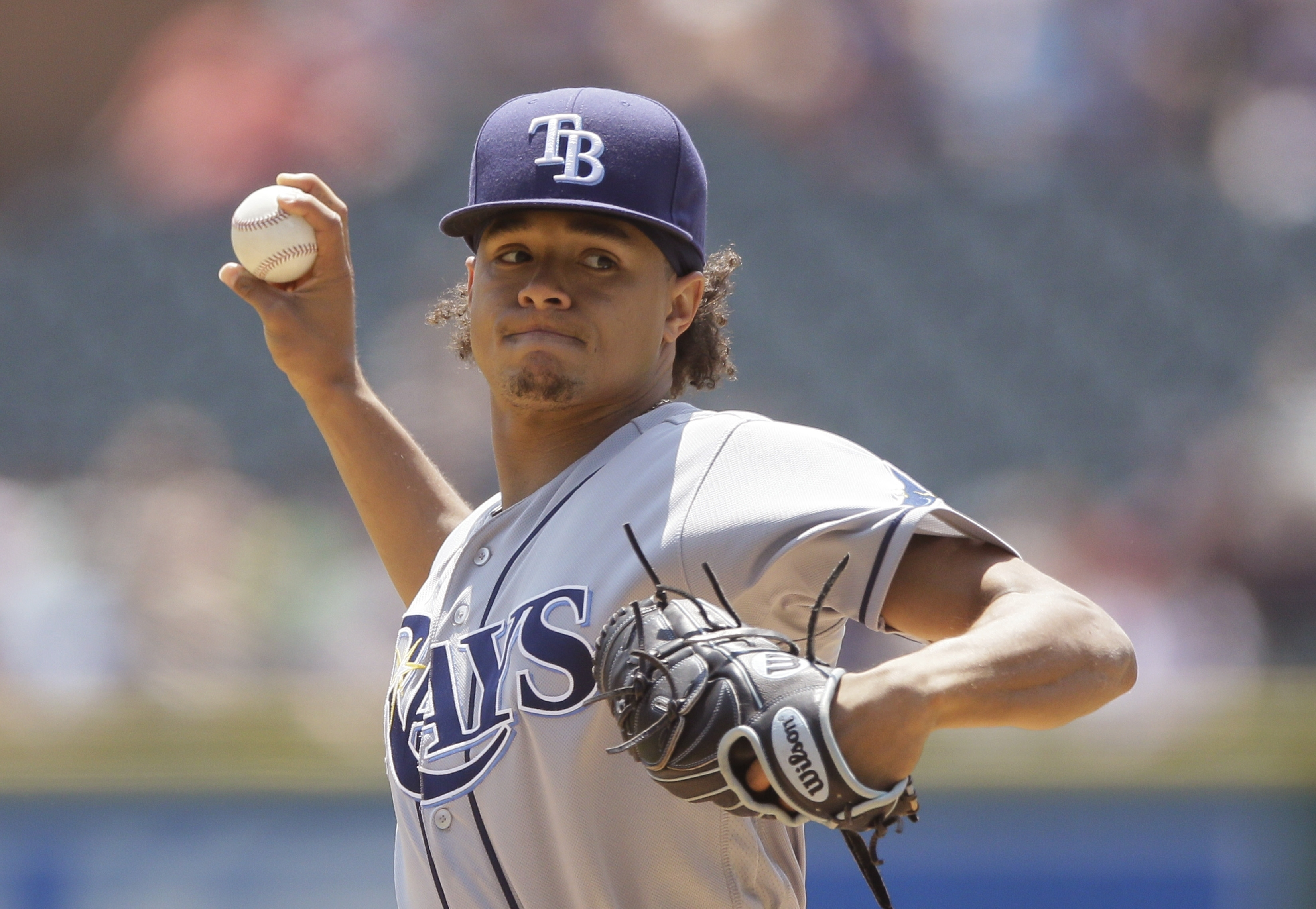 Tampa Bay Rays starting pitcher Chris Archer throws during the first inning of a baseball game against the Detroit Tigers, Sunday, May 22, 2016, in Detroit. (AP Photo/Carlos Osorio)