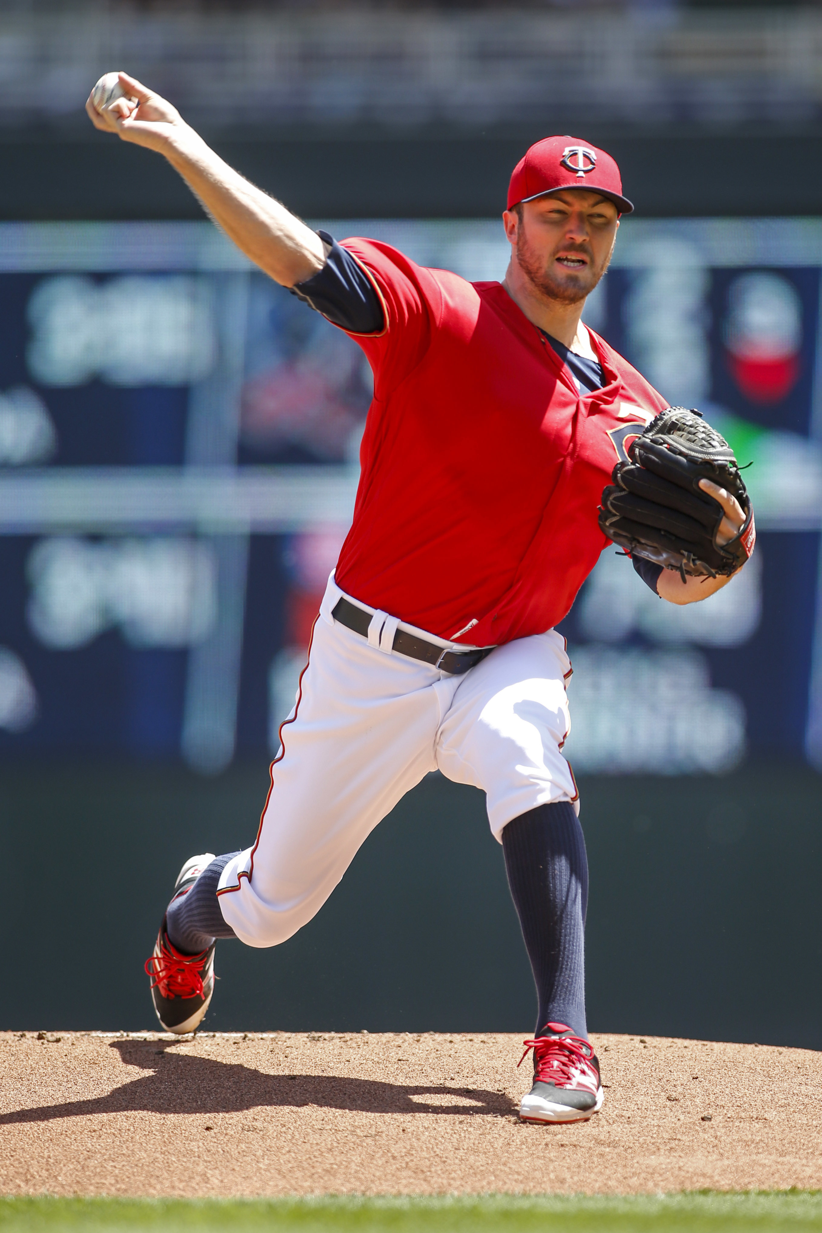 Minnesota Twins starting pitcher Phil Hughes throws to the Toronto Blue Jays in the first inning of a baseball game Sunday, May 22, 2016, in Minneapolis. (AP Photo/Bruce Kluckhohn)
