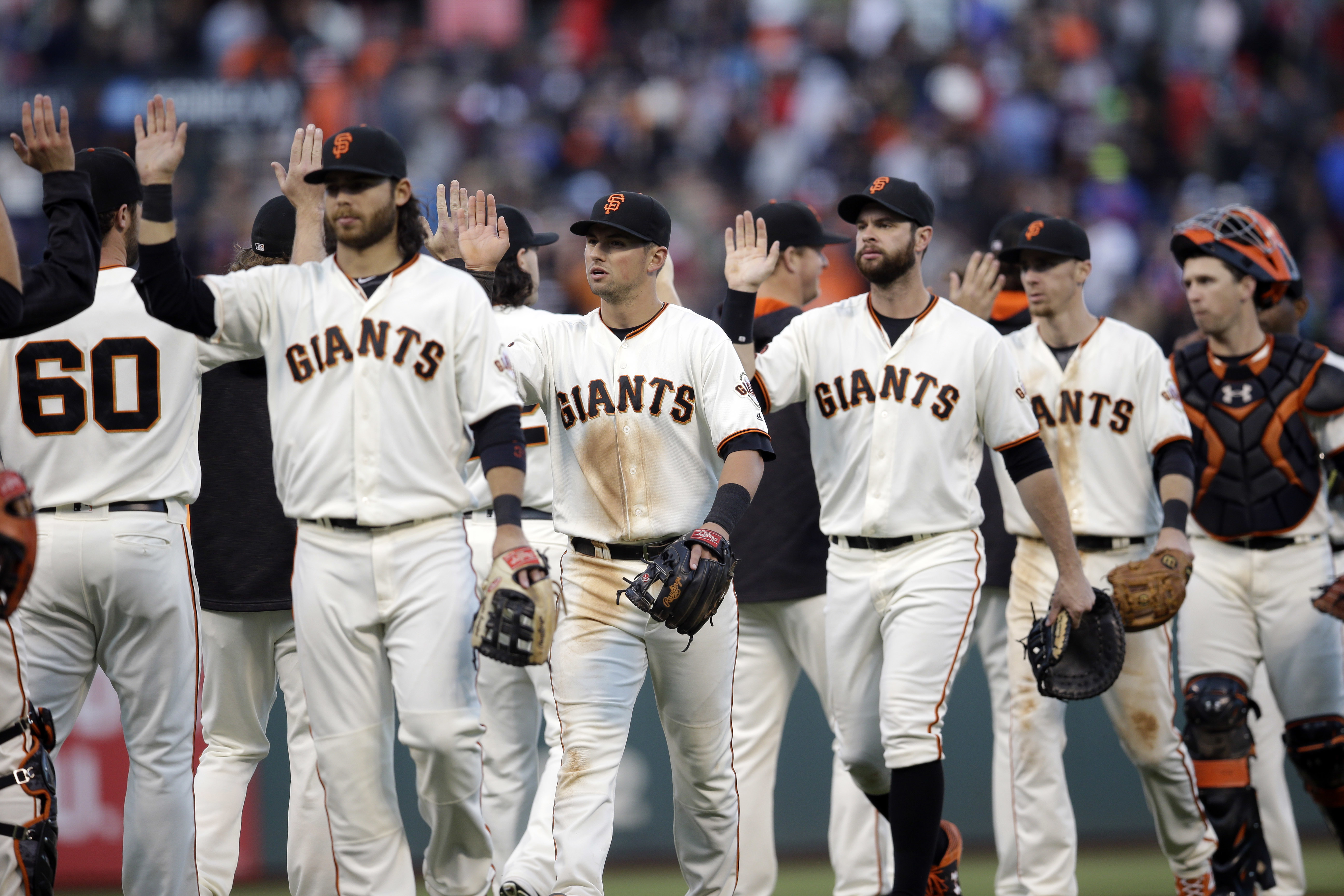 The San Francisco Giants celebrate after a 1-0 win over the Chicago Cubs during a baseball game, Sunday, May 22, 2016, in San Francisco. (AP Photo/Marcio Jose Sanchez)