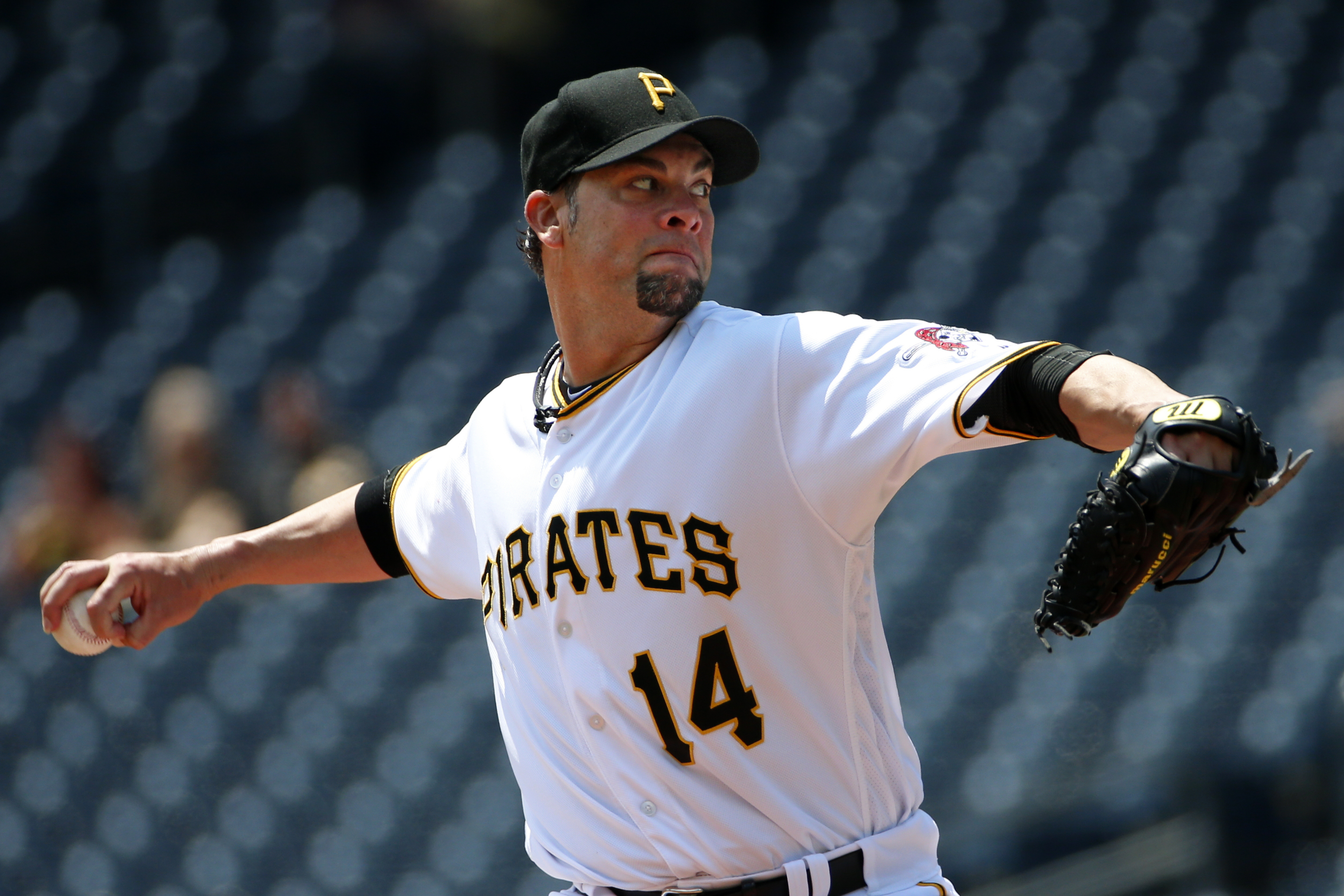 Pittsburgh Pirates starting pitcher Ryan Vogelsong delivers during the first inning of a baseball game against the Colorado Rockies in Pittsburgh, Monday, May 23, 2016. (AP Photo/Gene J. Puskar)