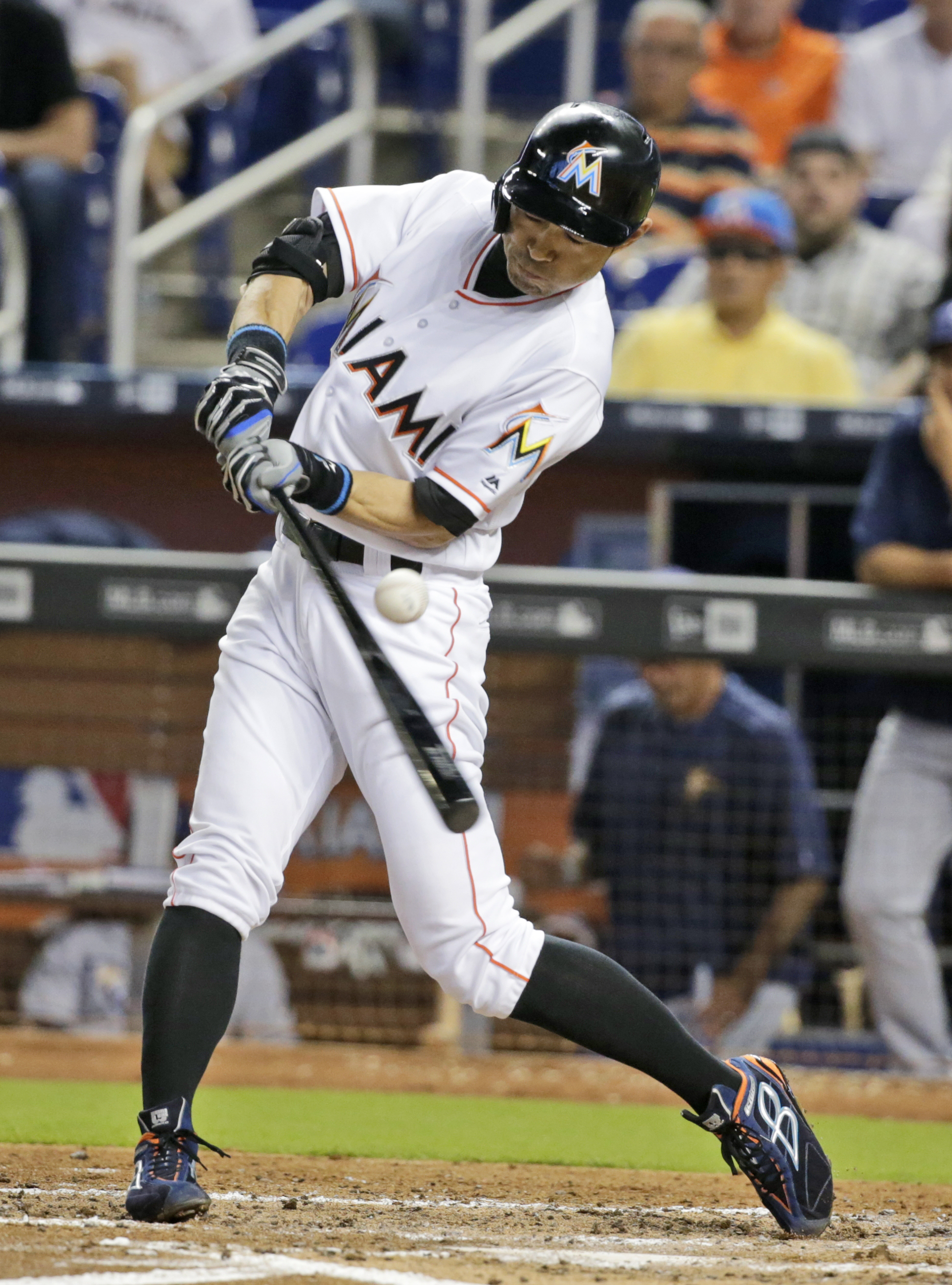 Miami Marlins' Ichiro Suzuki, of Japan, bats during the third inning of a baseball game against the Tampa Bay Rays, Tuesday, May 24, 2016, in Miami. (AP Photo/Wilfredo Lee)