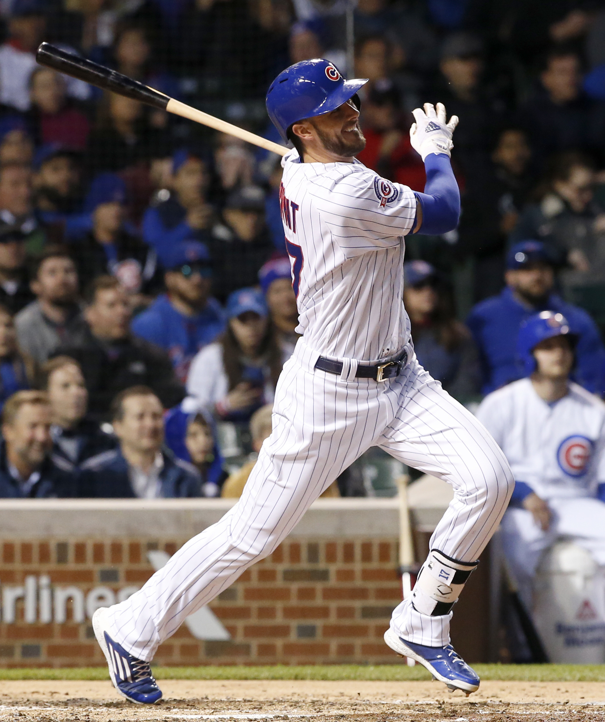 FILE - In this May 5, 2016, file photo, Chicago Cubs' Kris Bryant hits a ground-rule double  during the fourth inning of a baseball game against the Washington Nationals in Chicago. For all the towering home runs he hit last season on the way to the NL Ro