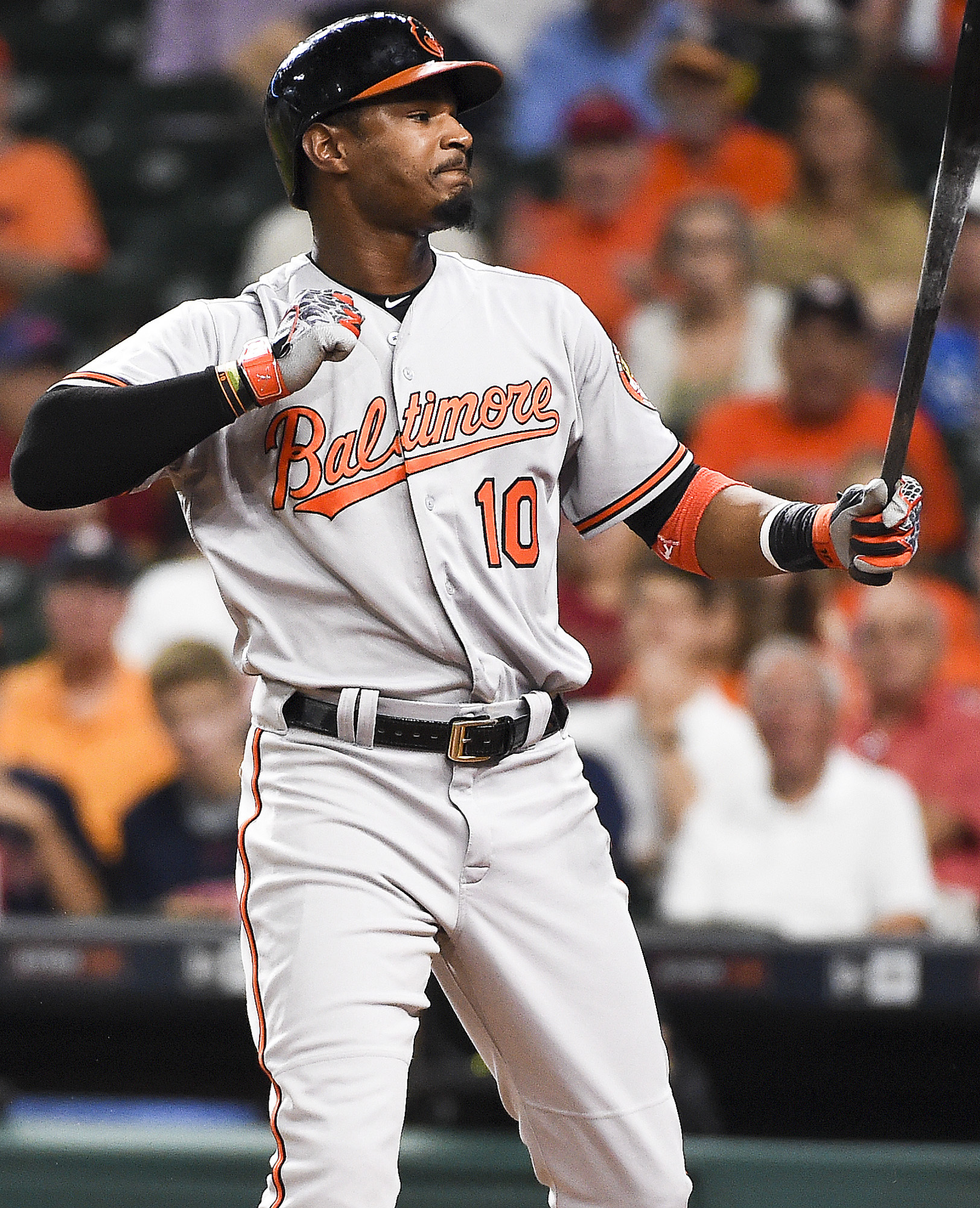 Baltimore Orioles' Adam Jones reacts after striking out during the first inning of a baseball game against the Houston Astros, Thursday, May 26, 2016, in Houston. (AP Photo/Eric Christian Smith)