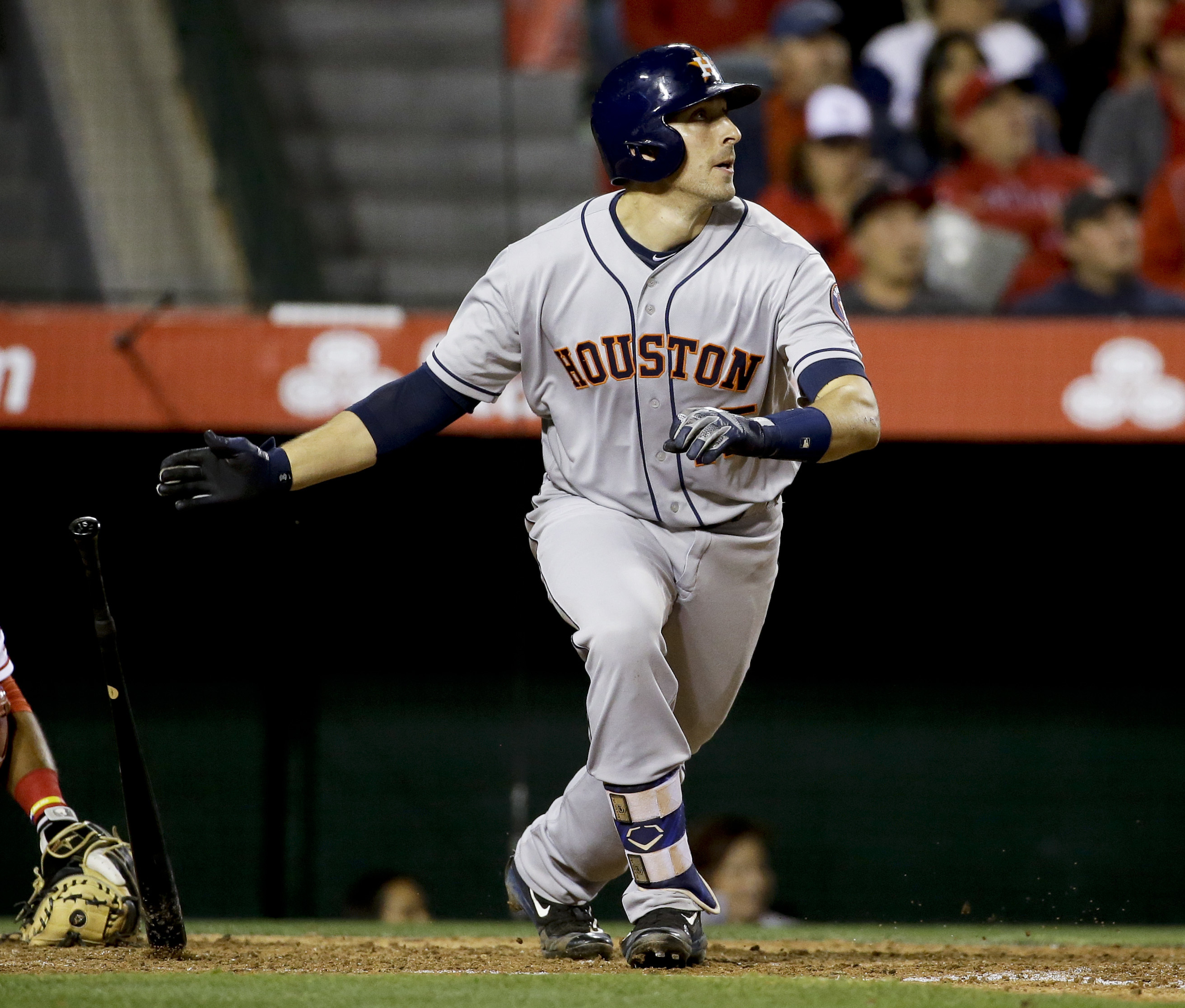 Houston Astros' Jason Castro watches his two-run home run against the Los Angeles Angels during the sixth inning of a baseball game in Anaheim, Calif., Saturday, May 28, 2016. (AP Photo/Chris Carlson)