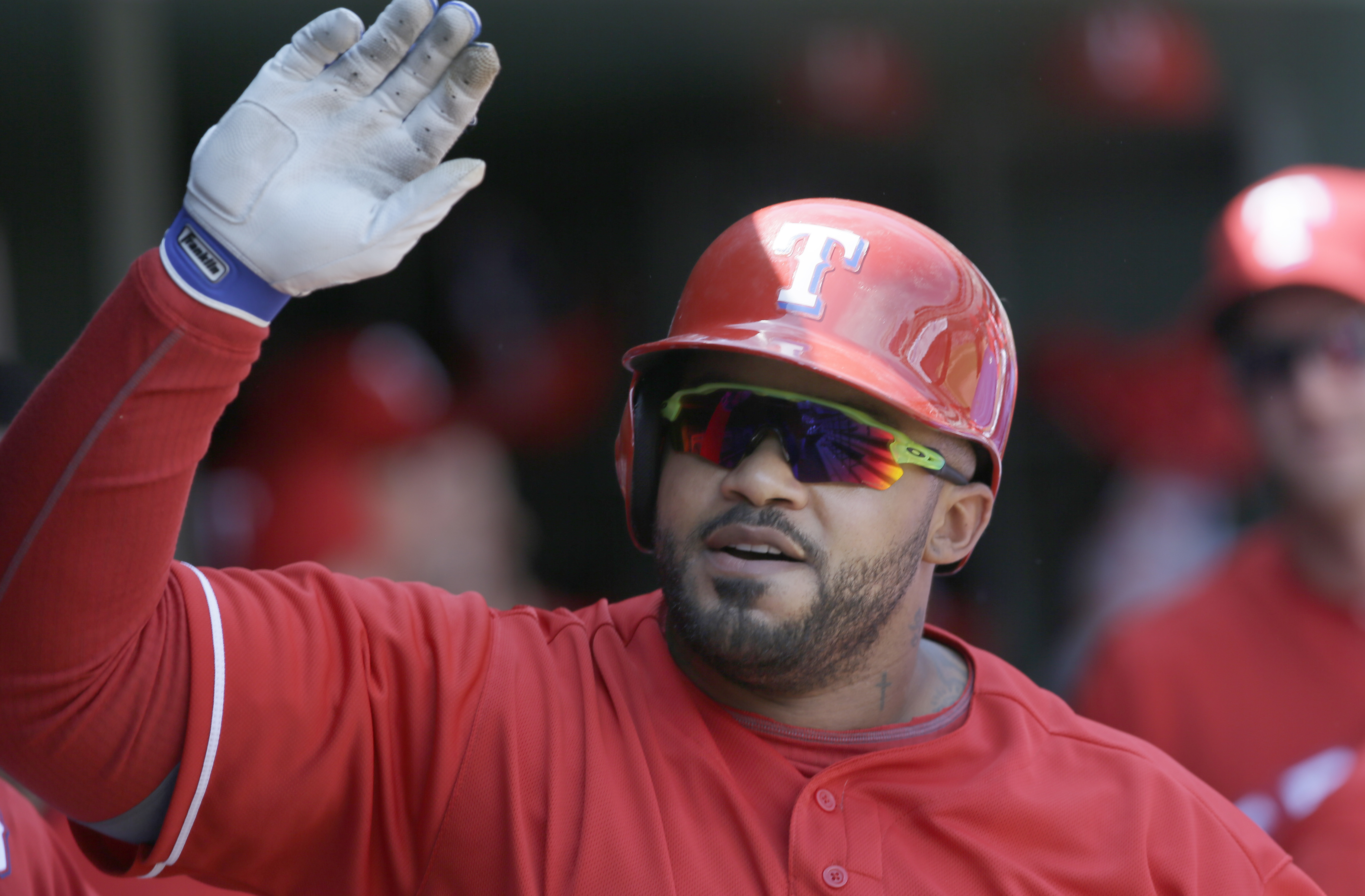 Texas Rangers designated hitter Prince Fielder celebrates his solo home run during the fourth inning of a baseball game against the Pittsburgh Pirates in Arlington, Texas, Sunday, May 29, 2016. (AP Photo/LM Otero)