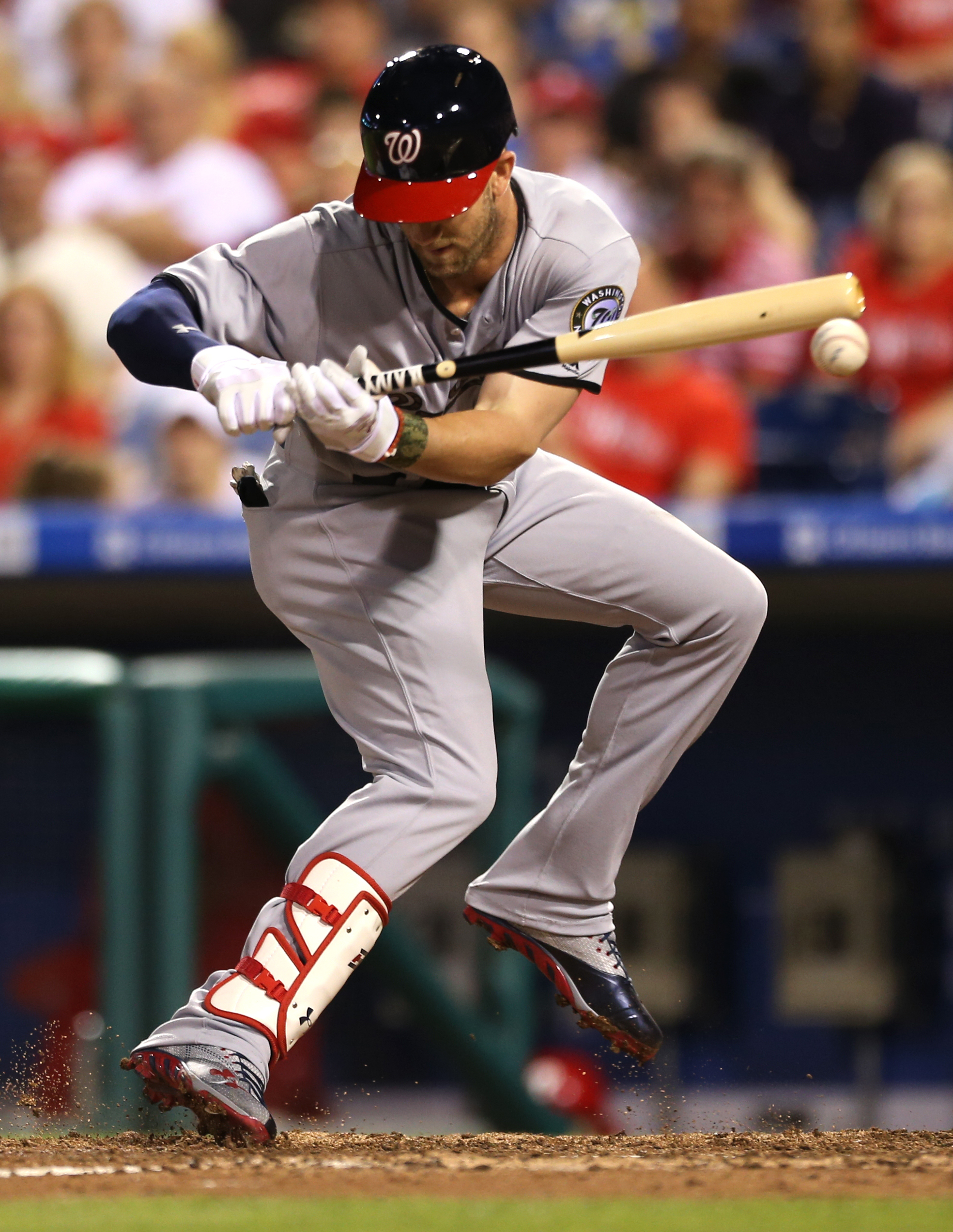 Washington Nationals' Bryce Harper (34) is hit by a pitch from Philadelphia Phillies starting pitcher Jeremy Hellickson in the seventh inning of a baseball game, Monday, May 30, 2016, in Philadelphia. The Nationals won 4-3. (AP Photo/Laurence Kesterson)