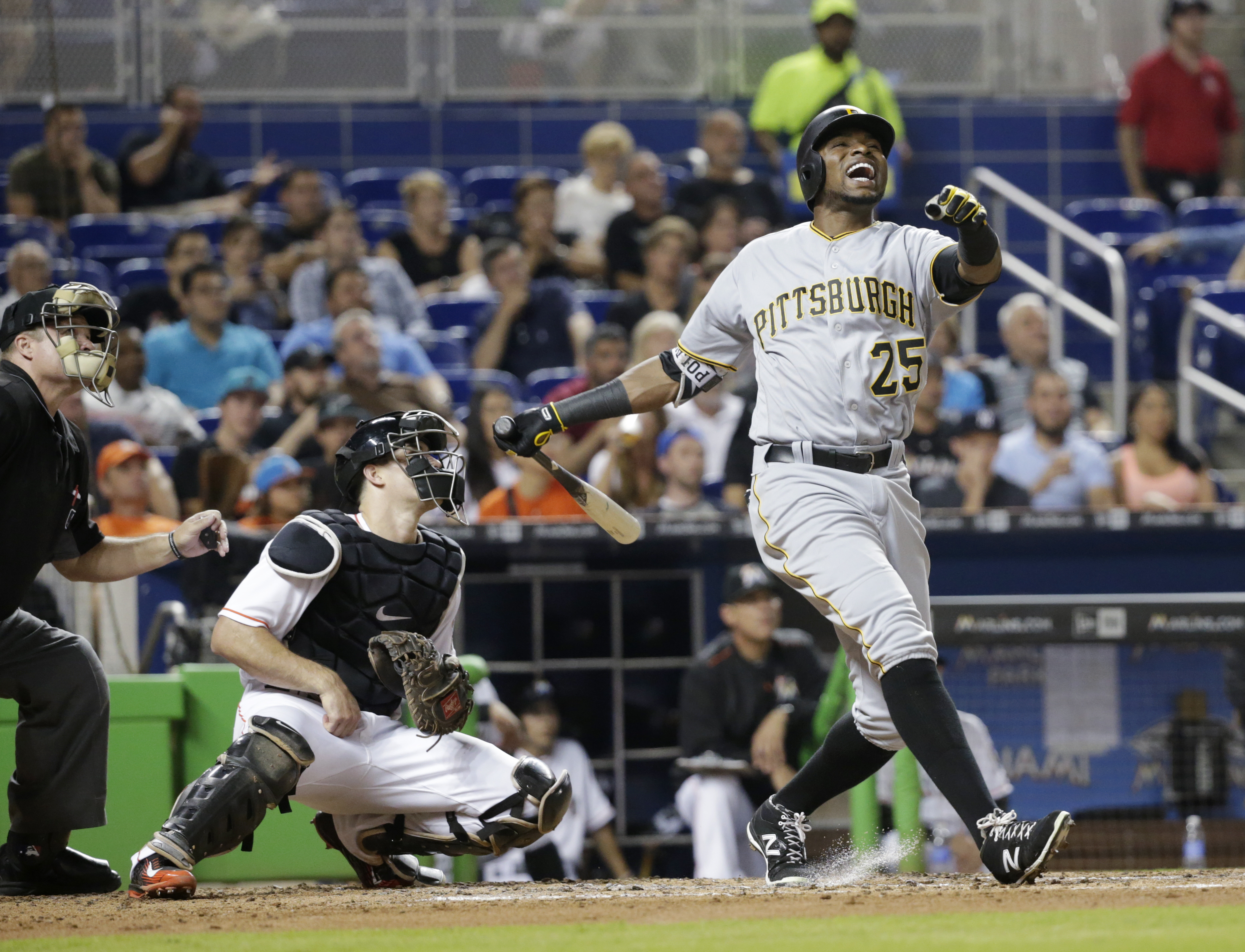 Pittsburgh Pirates' Gregory Polanco reacts after hitting a pop-up fly ball to Miami Marlins right fielder Ichiro Suzuki during the fourth inning of a baseball game, Tuesday, May 31, 2016, in Miami. (AP Photo/Wilfredo Lee)