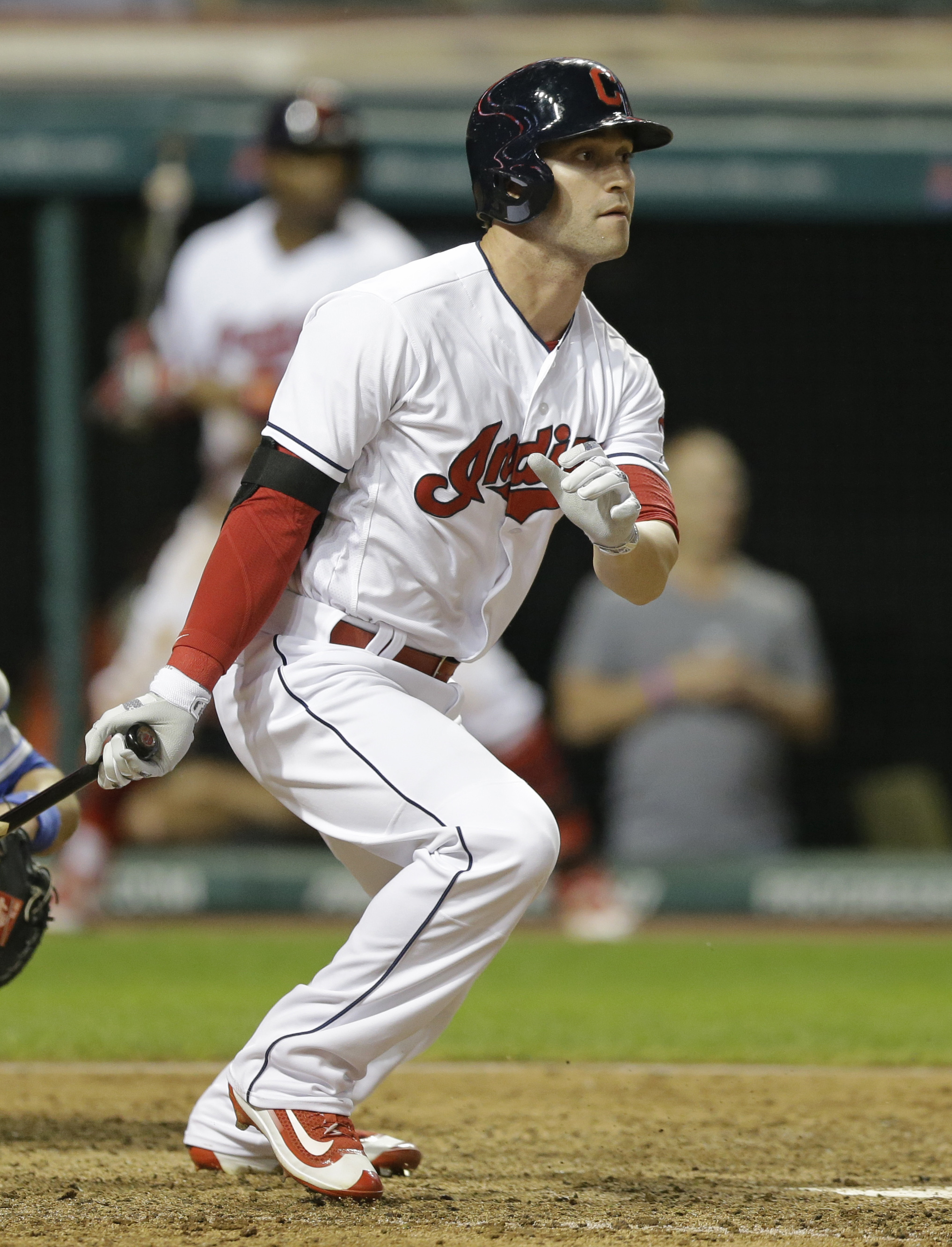 Cleveland Indians' Tyler Naquin watches his RBI single off Kansas City Royals relief pitcher Kelvin Herrera during the eighth inning of a baseball game, Thursday, June 2, 2016, in Cleveland. (AP Photo/Tony Dejak)