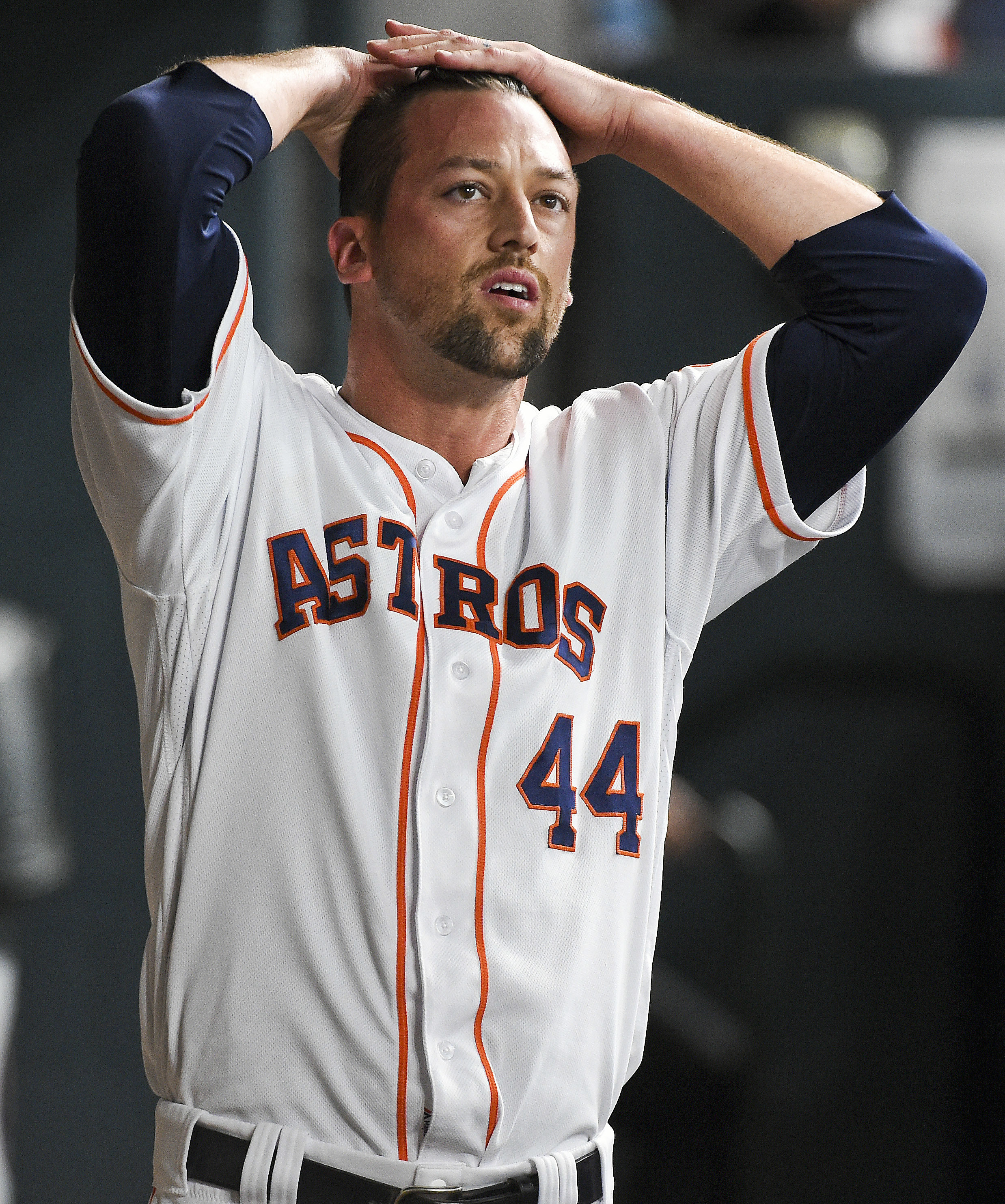 Houston Astros relief pitcher Luke Gregerson walks in the dugout after being pulled from a baseball game after giving up the tying home run to Oakland Athletics' Jed Lowrie during the ninth inning Saturday, June 4, 2016, in Houston. (AP Photo/Eric Christi