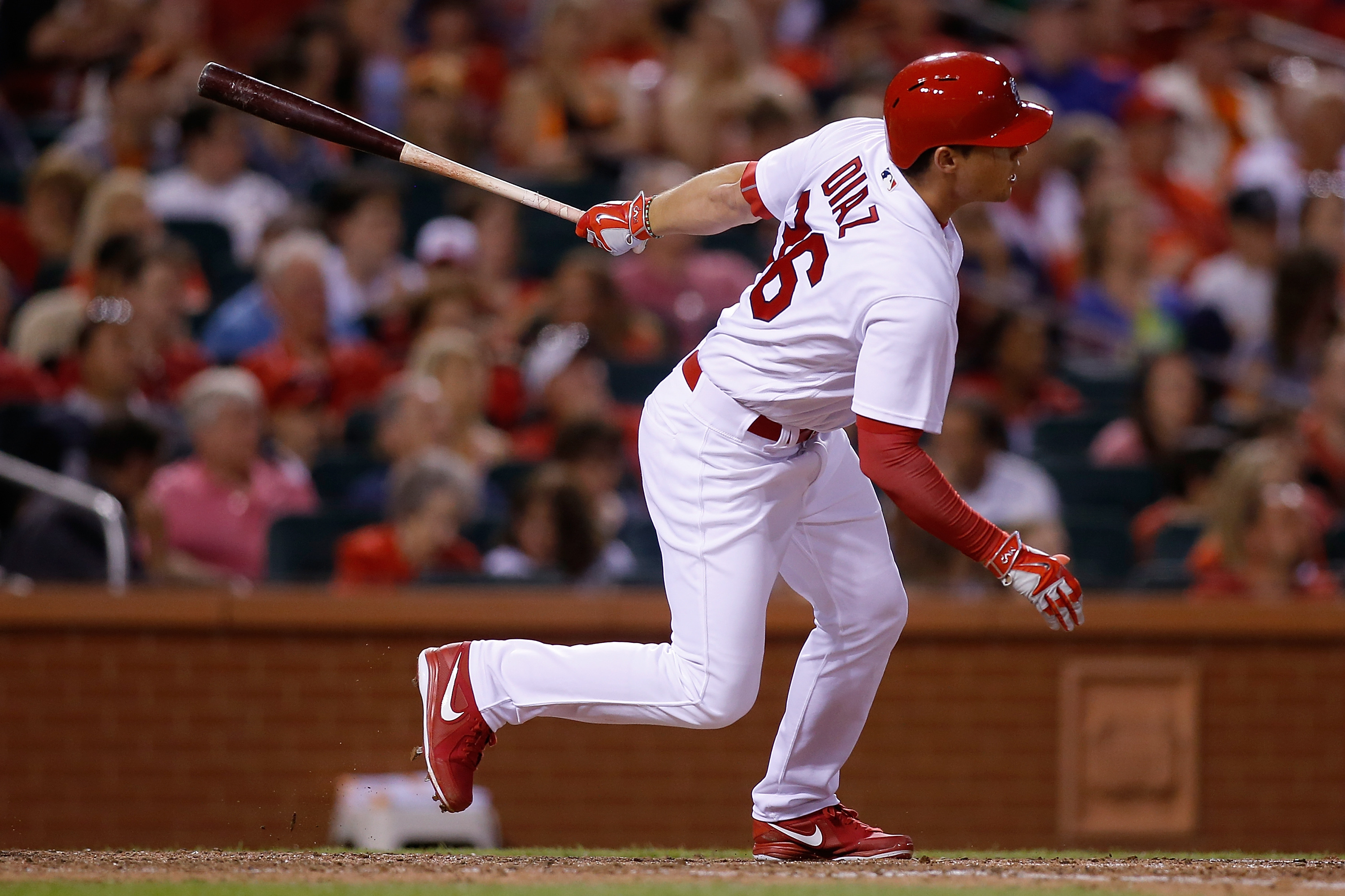 St. Louis Cardinals' Aledmys Diaz follows through on a RBI double during the sixth inning of a baseball game against the San Francisco Giants, Sunday, June 5, 2016 in St. Louis. (AP Photo/Scott Kane)