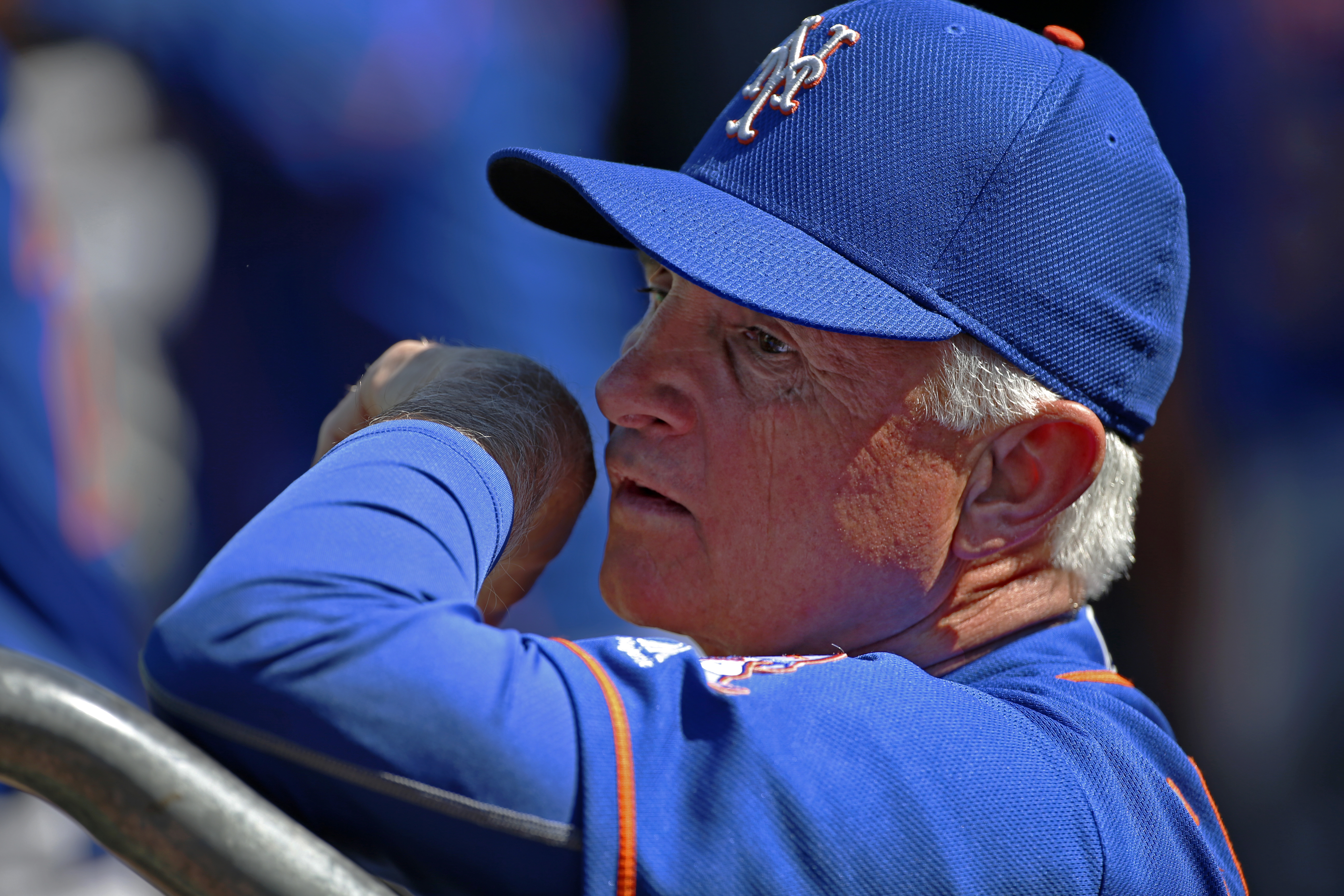 New York Mets manager Terry Collins stands in the dugout before a baseball game against the Pittsburgh Pirates in Pittsburgh, Tuesday, June 7, 2016. The Pirates won the first game of a double header, 3-1. (AP Photo/Gene J. Puskar)