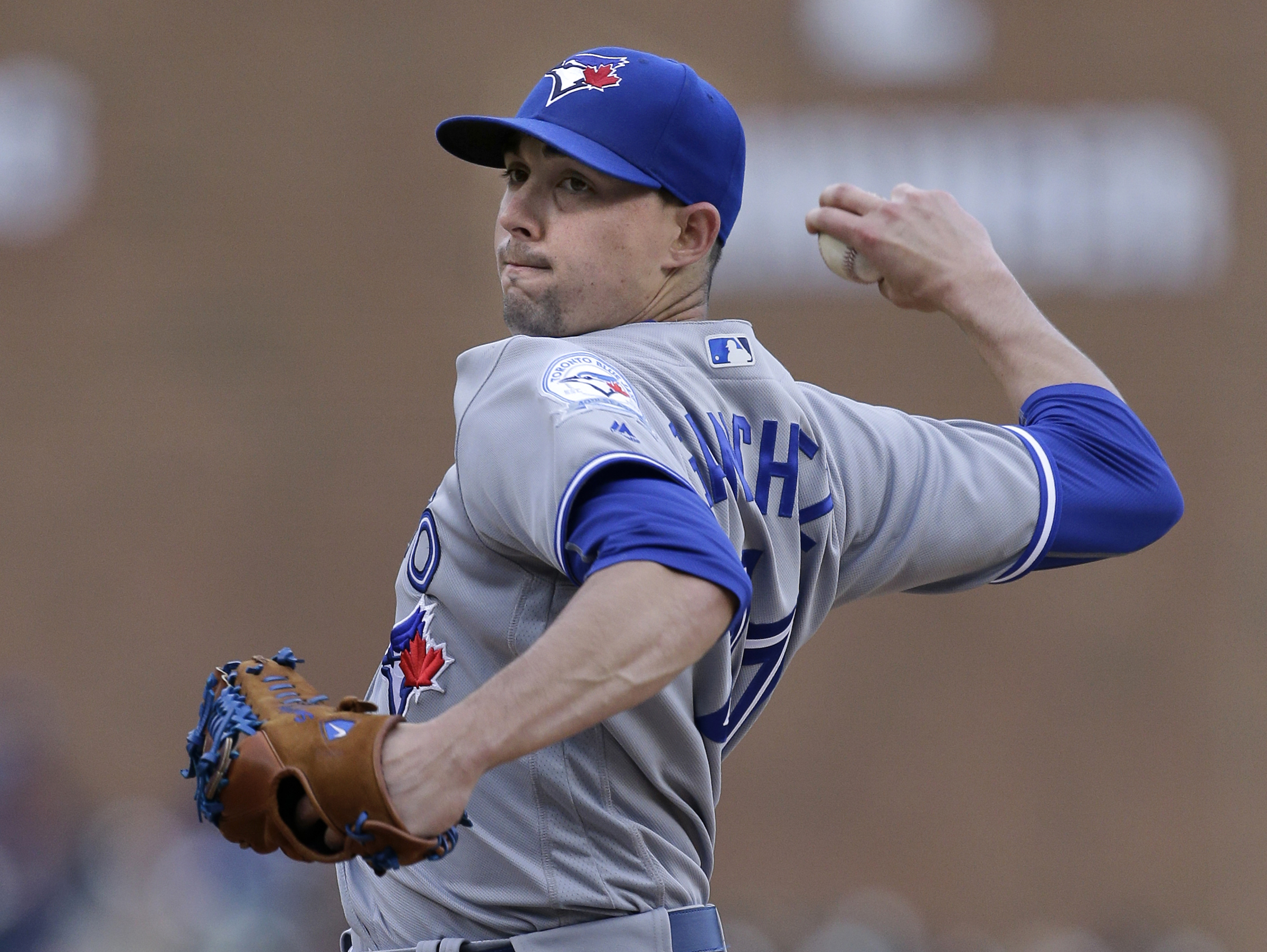 Toronto Blue Jays' Aaron Sanchez pitches against the Detroit Tigers during the first inning of a baseball game Tuesday, June 7, 2016, in Detroit. (AP Photo/Duane Burleson)