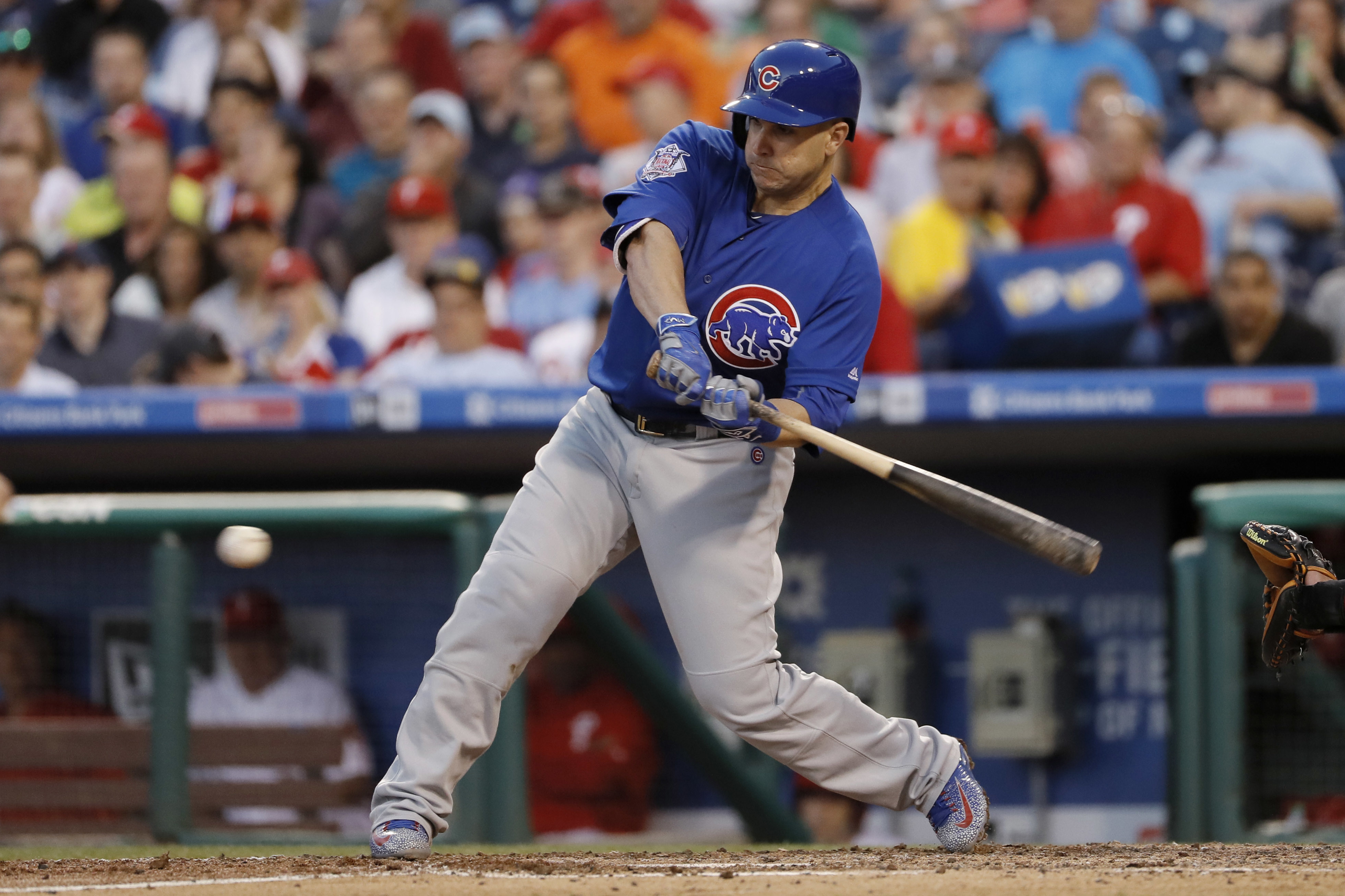 Chicago Cubs' Miguel Montero hits into a run-scoring double play during the fifth inning of a baseball game against the Philadelphia Phillies, Tuesday, June 7, 2016, in Philadelphia. (AP Photo/Matt Slocum)