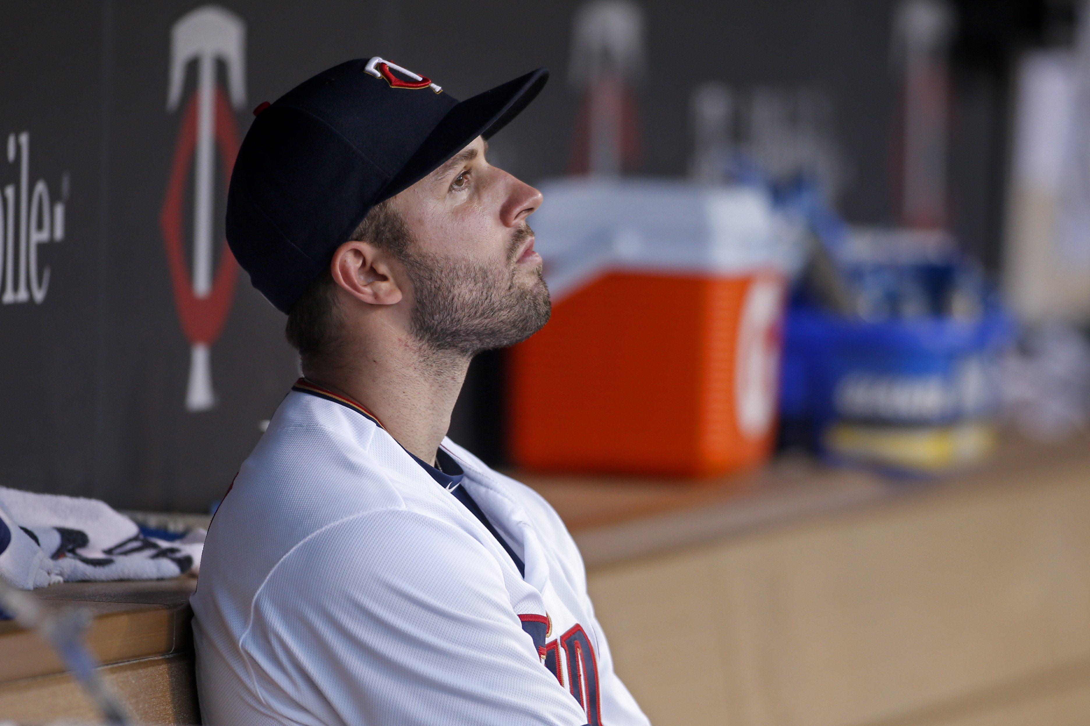 Minnesota Twins starting pitcher Pat Dean sits in the dugout after being removed against the Miami Marlins in the fifth inning of a baseball game Tuesday, June 7, 2016, in Minneapolis. (AP Photo/Bruce Kluckhohn)