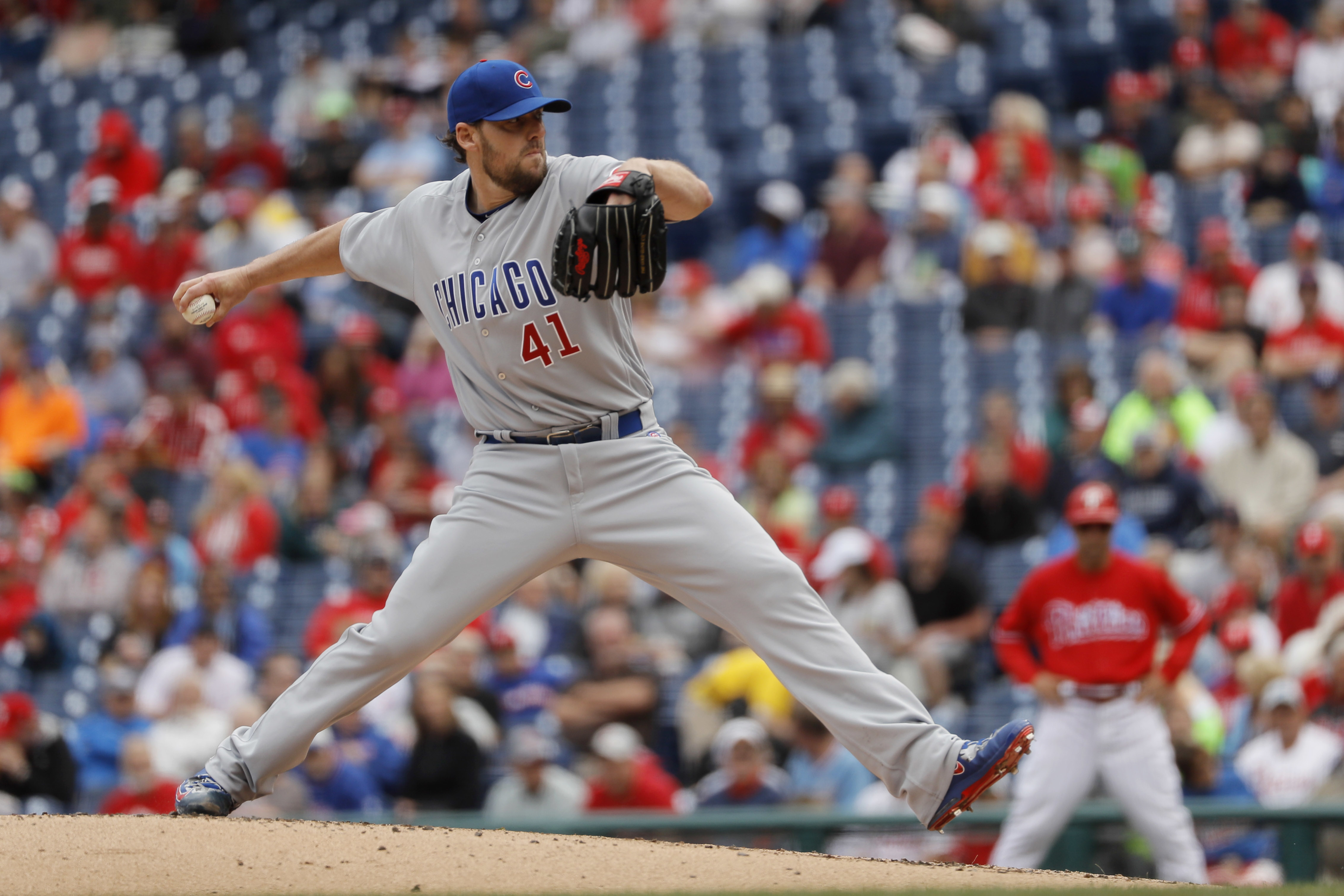 Chicago Cubs' John Lackey pitches during the first inning of a baseball game against the Philadelphia Phillies, Wednesday, June 8, 2016, in Philadelphia. (AP Photo/Matt Slocum)