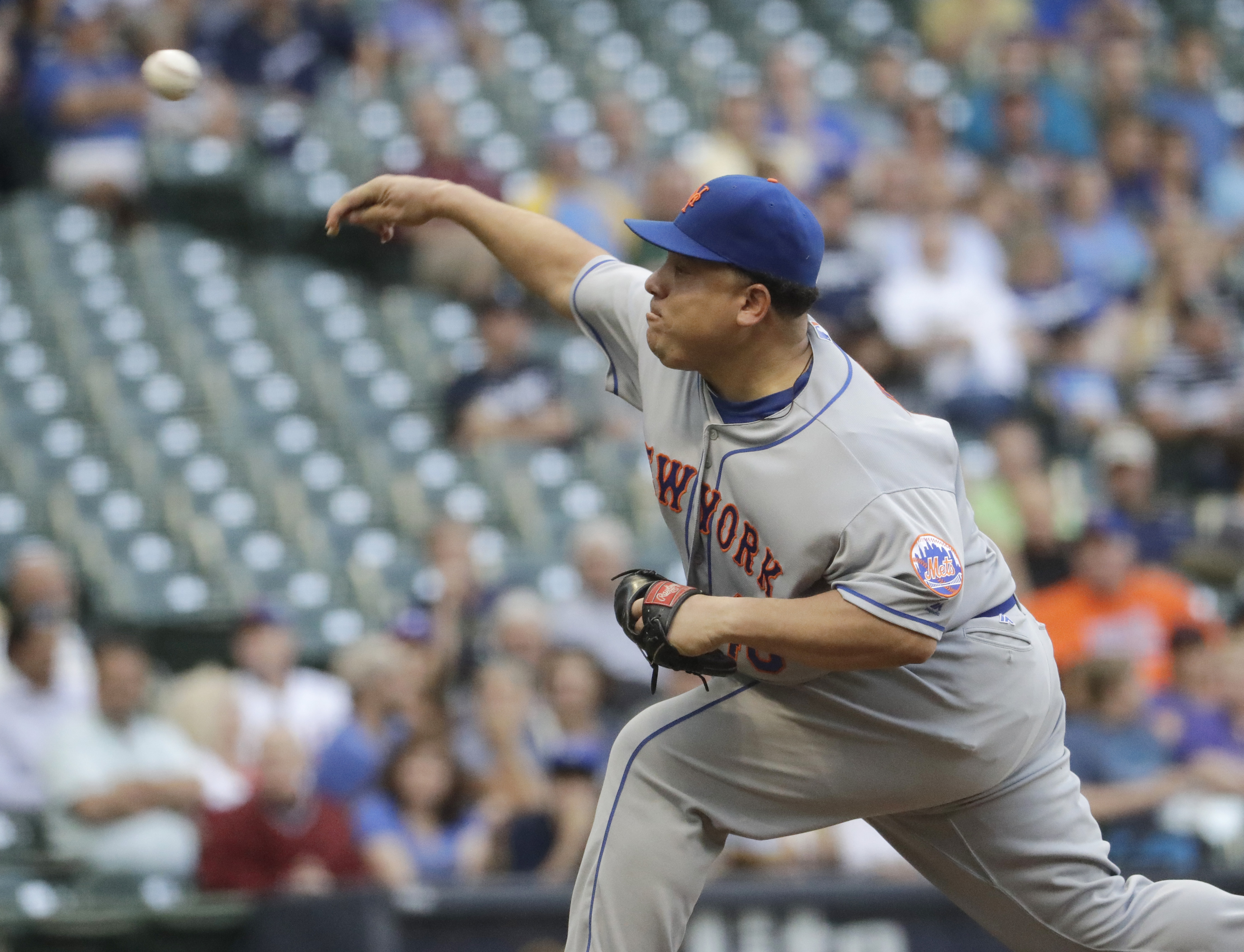 New York Mets starting pitcher Bartolo Colon throws during the first inning of a baseball game against the Milwaukee Brewers Thursday, June 9, 2016, in Milwaukee. (AP Photo/Morry Gash)