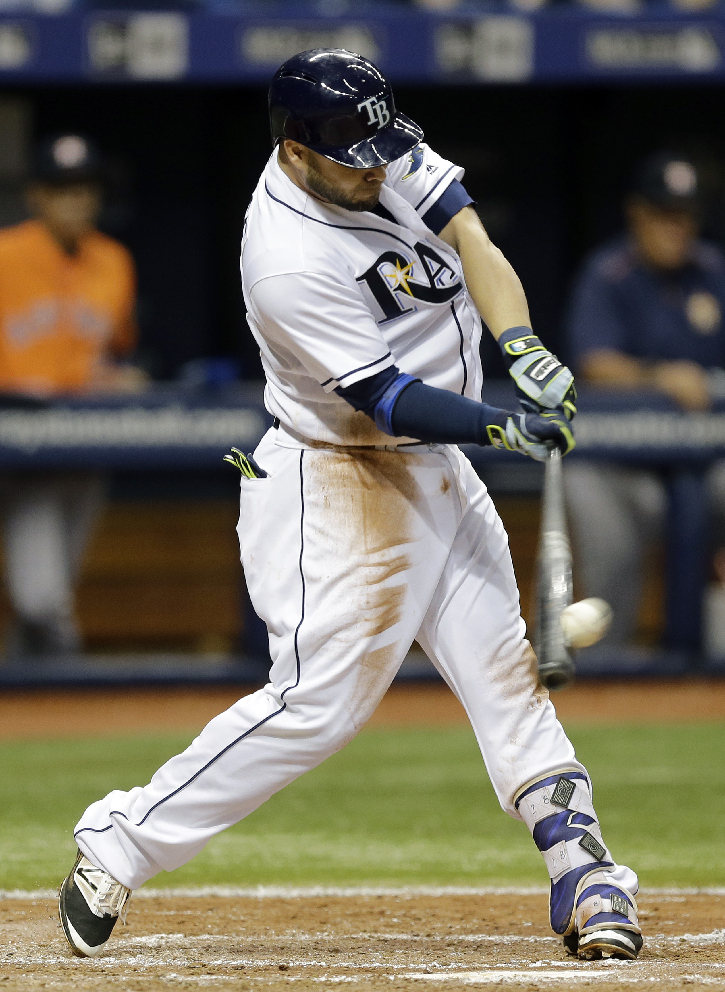 Tampa Bay Rays' Steve Pearce connects for a double off Houston Astros starting pitcher Lance McCullers during the third inning of a baseball game Friday, June 10, 2016, in St. Petersburg, Fla. (AP Photo/Chris O'Meara)