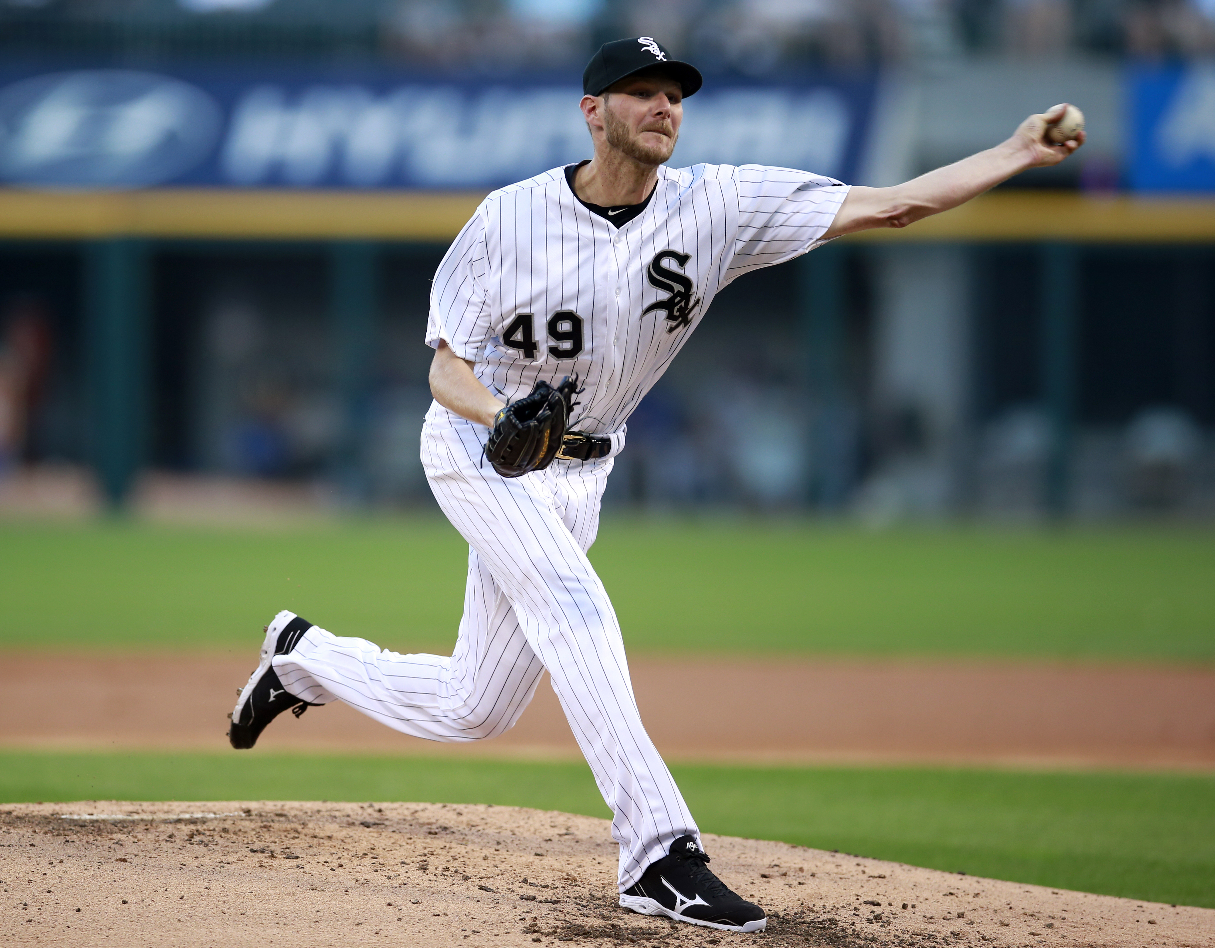 Chicago White Sox starting pitcher Chris Sale (49) delivers during the second inning of a baseball game against the Kansas City Royals in Chicago, Friday, June 10, 2016. (AP Photo/Jeff Haynes)