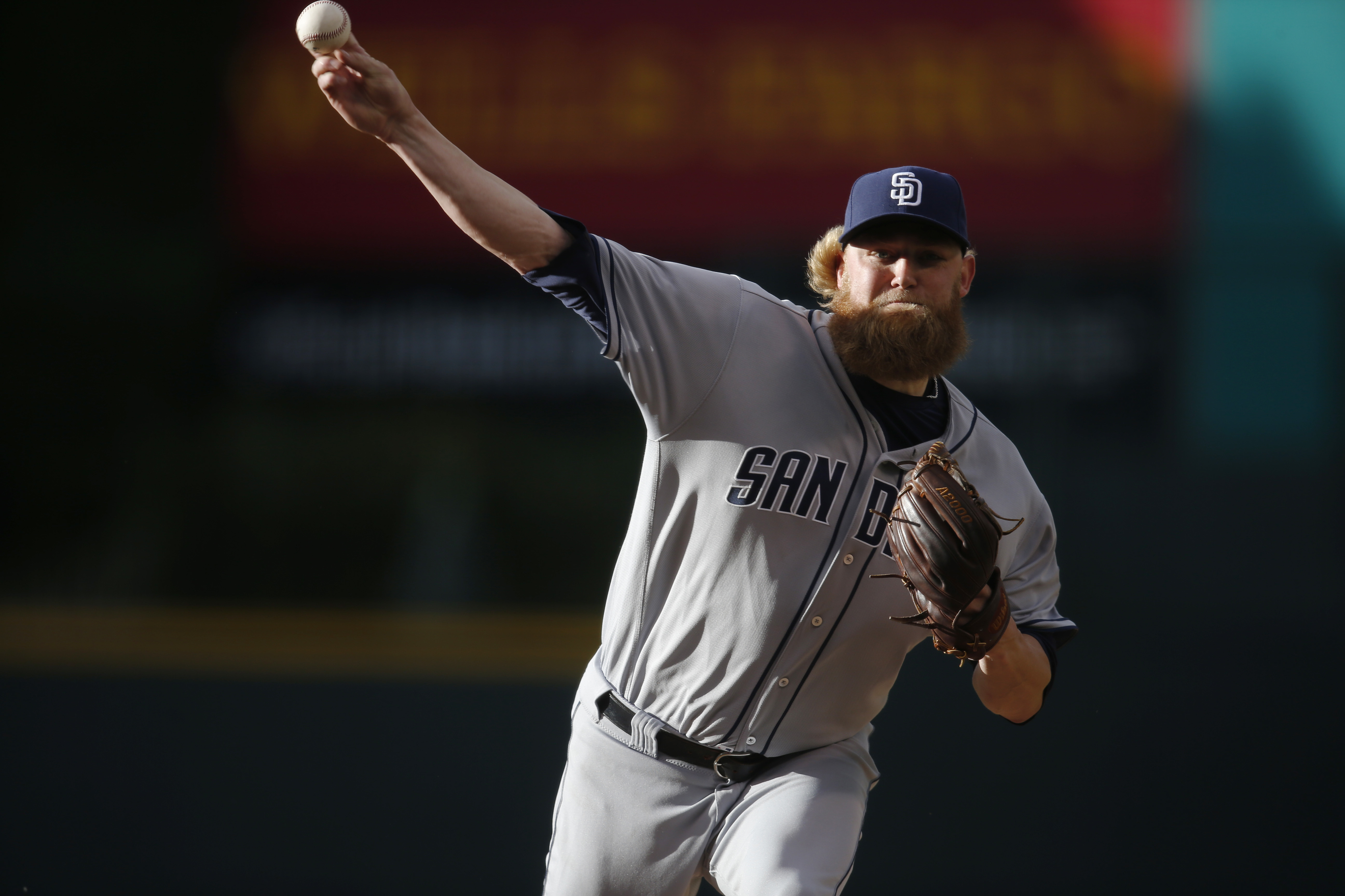 San Diego Padres starting pitcher Andrew Cashner delivers a pitch to Colorado Rockies' Charlie Blackmon in the first inning of a baseball game Friday, June 10, 2016, in Denver. (AP Photo/David Zalubowski)