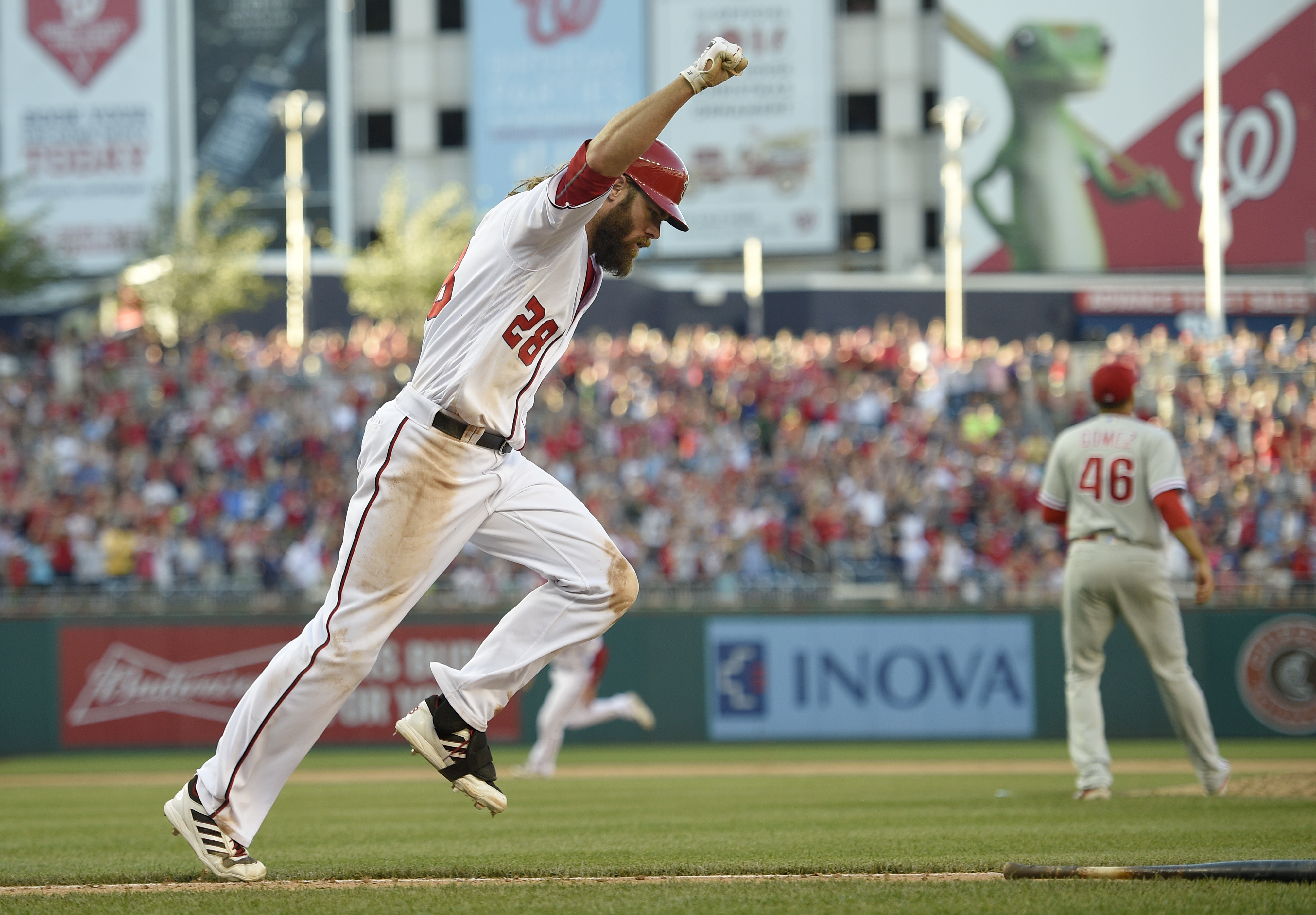 Washington Nationals' Jayson Werth reacts after he hit a walk off single that drove in two runs during the ninth inning of a baseball game against the Philadelphia Phillies, Sunday, June 12, 2016, in Washington. (AP Photo/Nick Wass)