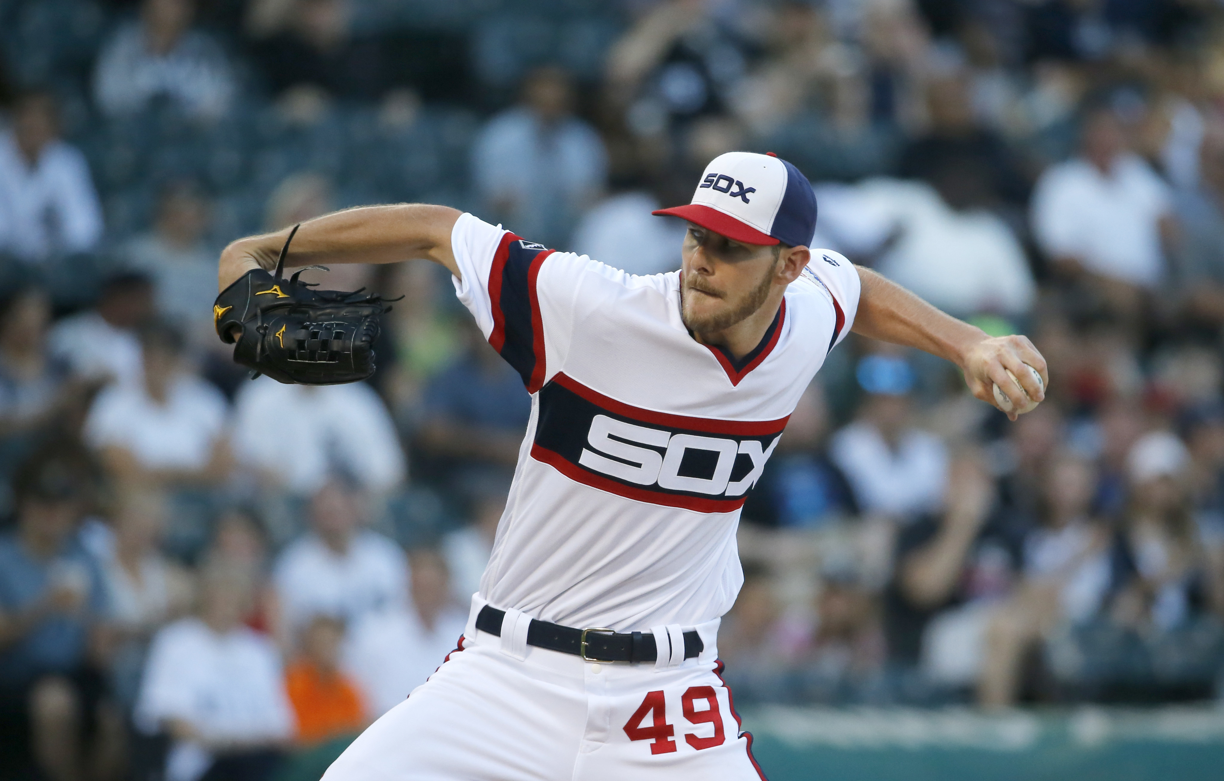 Chicago White Sox starting pitcher Chris Sale delivers during the first inning of a baseball game against the Detroit Tigers Wednesday, June 15, 2016, in Chicago. (AP Photo/Charles Rex Arbogast)
