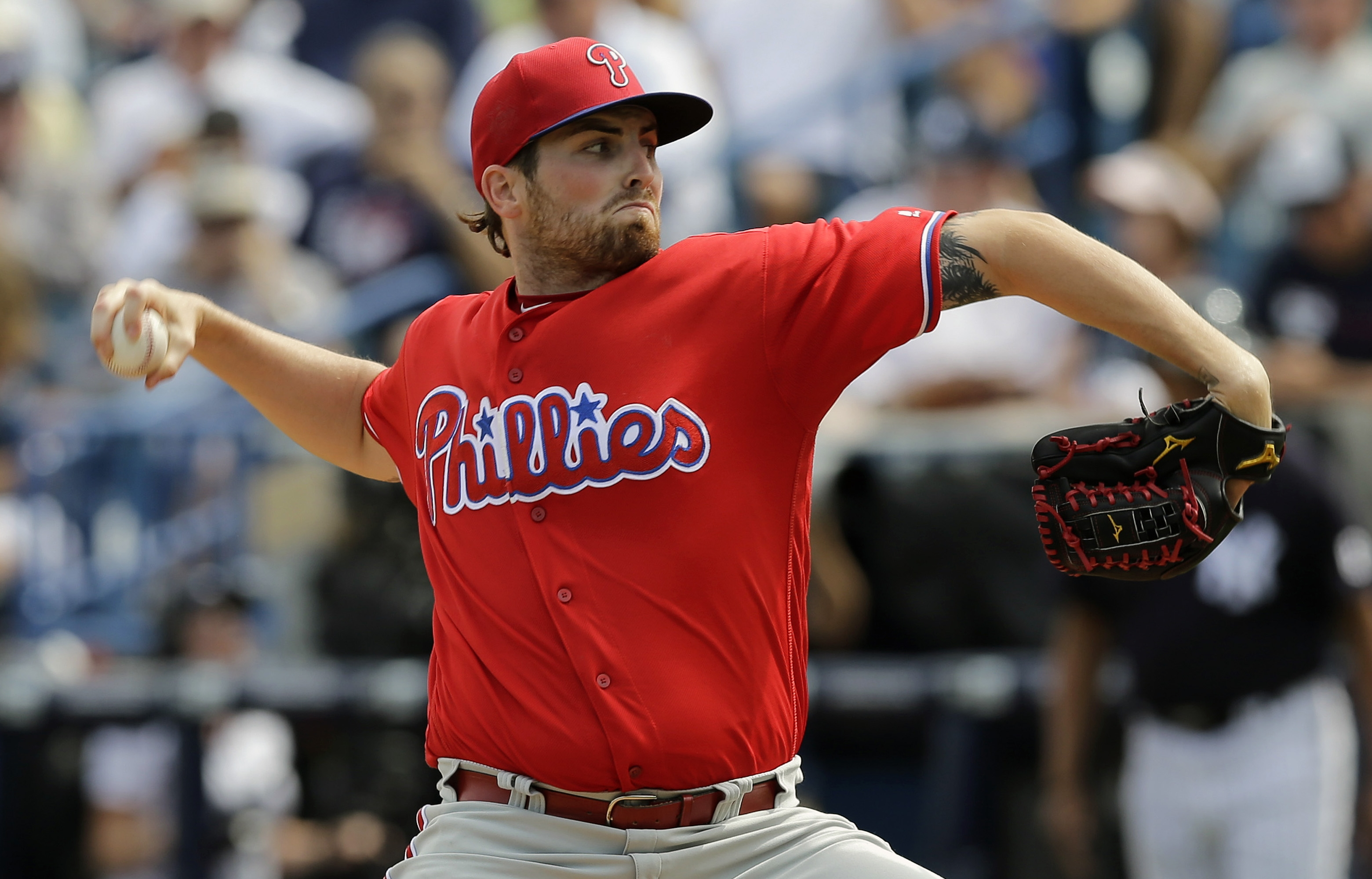 FILE - In this March 3, 2016, file photo, Philadelphia Phillies starting pitcher Alec Asher during the fourth inning of a spring training baseball game against the New York Yankees in Tampa, Fla. Asher was suspended for 80 games for violating Major League