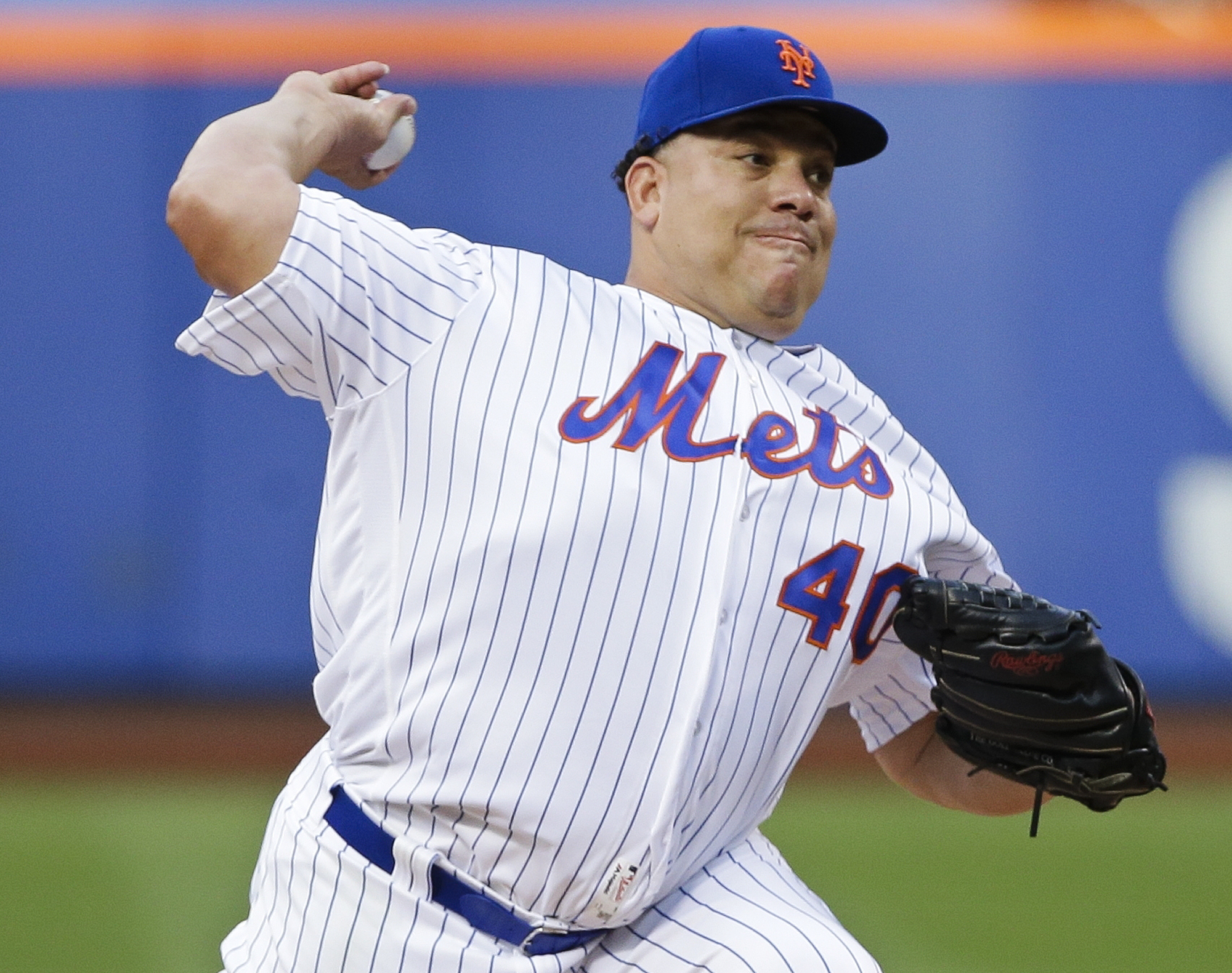 New York Mets' Bartolo Colon delivers a pitch during the first inning of a baseball game against the Pittsburgh Pirates, Thursday, June 16, 2016, in New York. (AP Photo/Frank Franklin II)