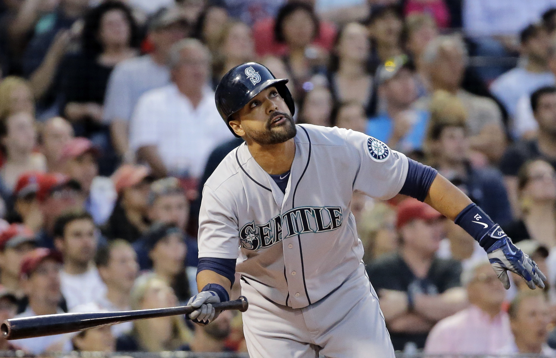 Seattle Mariners' Franklin Gutierrez watches his three-run double during the fourth inning of a baseball game against the Boston Red Sox at Fenway Park on Friday, June 17, 2016, in Boston. (AP Photo/Elise Amendola)