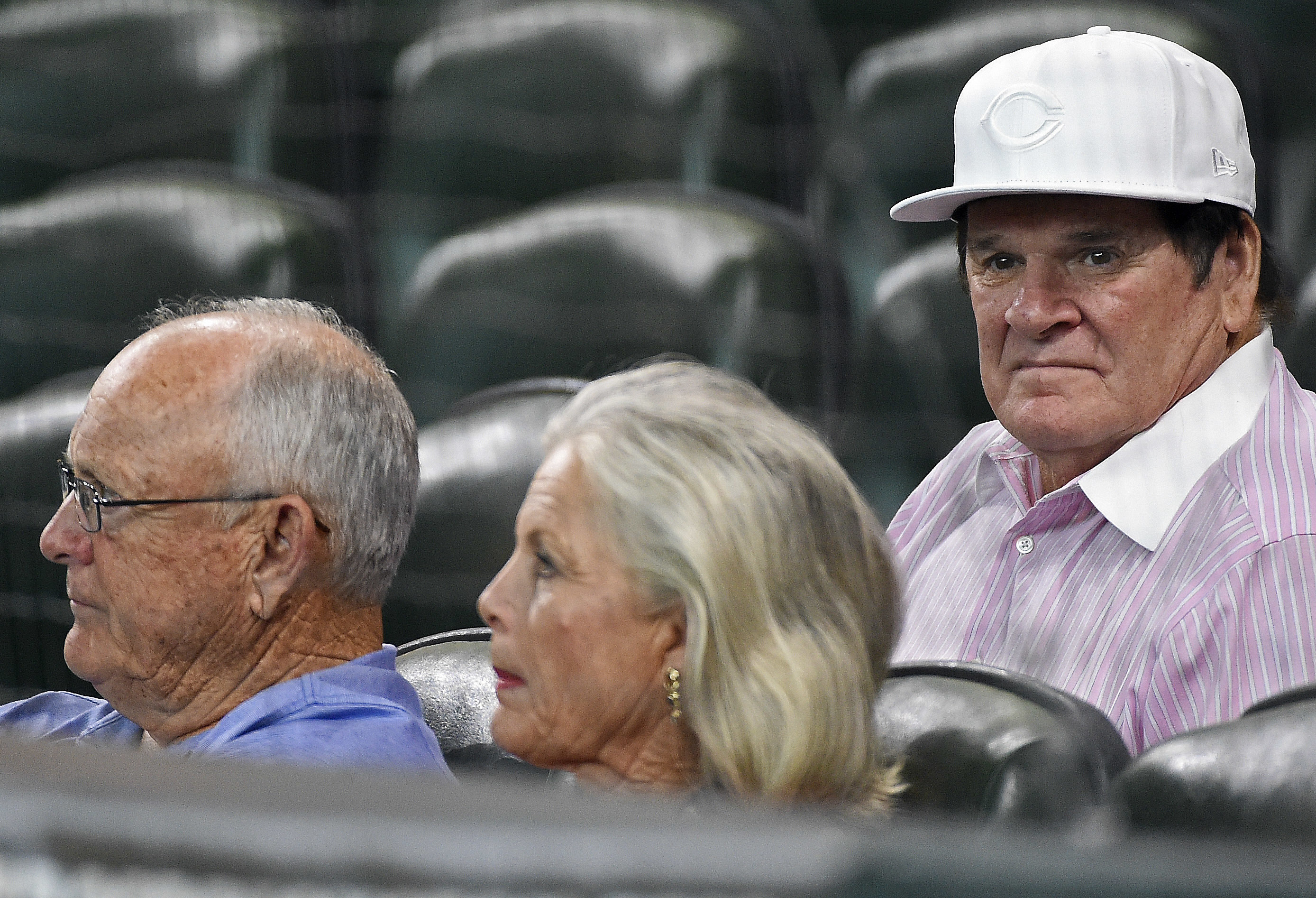 Pete Rose, right, and Nolan Ryan, left, watch a baseball game between the Houston Astros and the Cincinnati Reds, Friday, June 17, 2016, in Houston. (AP Photo/Eric Christian Smith)