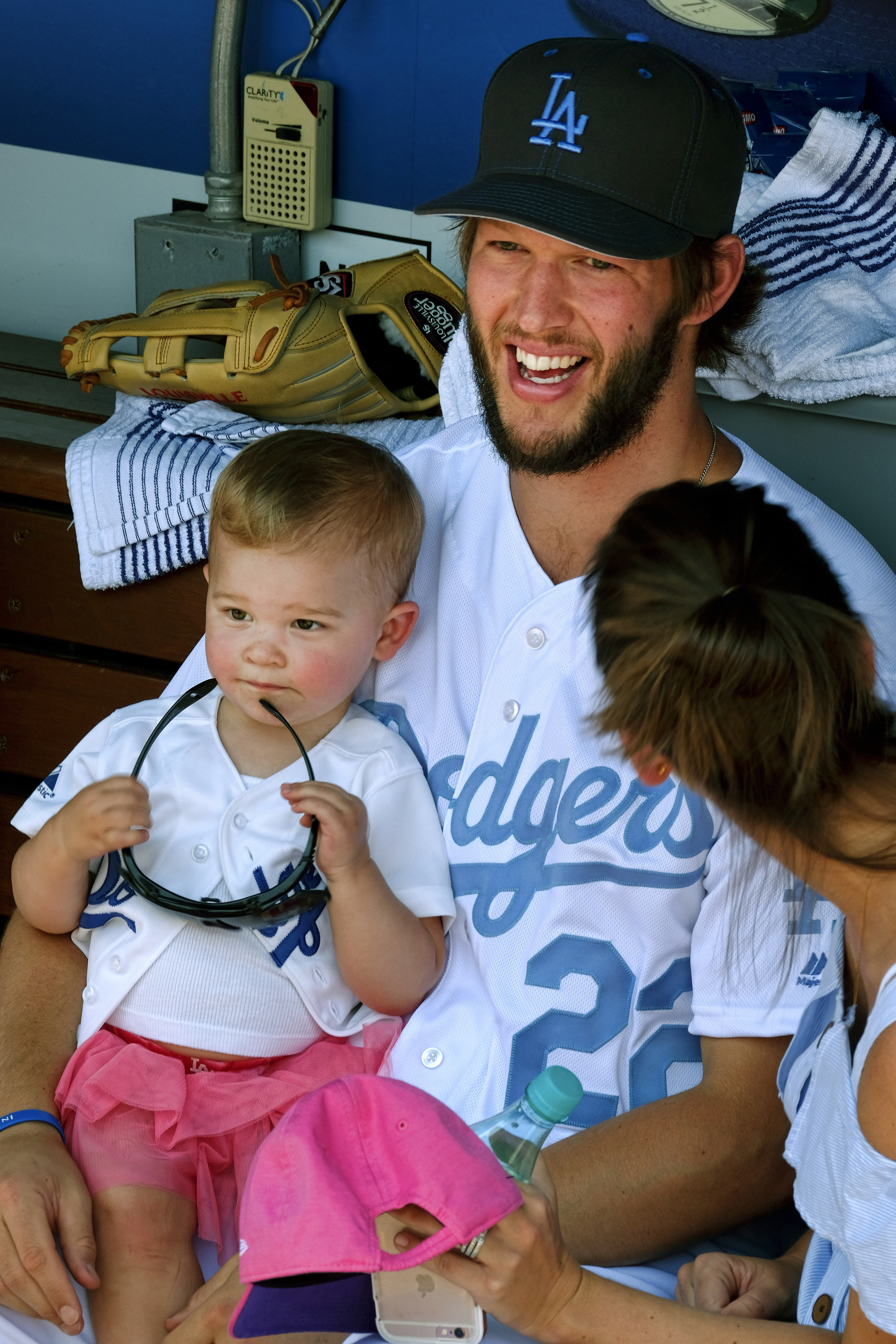 Los Angeles Dodgers starting pitcher Clayton Kershaw celebrates Father's Day with his daughter prior to the team's game against the Milwaukee Brewers on at Dodger Stadium, Sunday, June 19, 2016. (AP Photo/Richard Vogel)