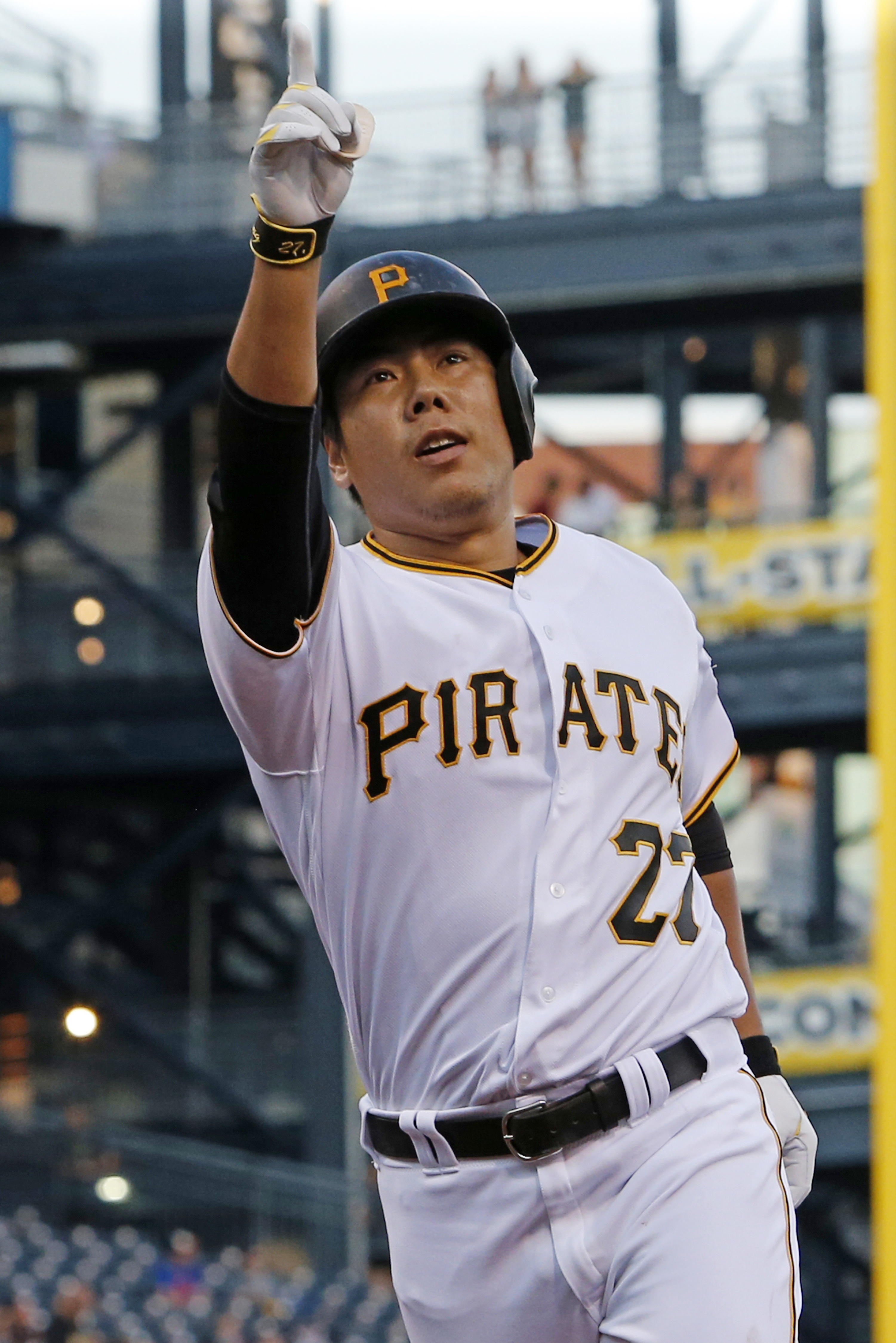 Pittsburgh Pirates' Jung Ho Kang crosses home plate after hitting a solo home run off Los Angeles Dodgers starting pitcher Nick Tepesch during the third inning of a baseball game in Pittsburgh, Friday, June 24, 2016. (AP Photo/Gene J. Puskar)