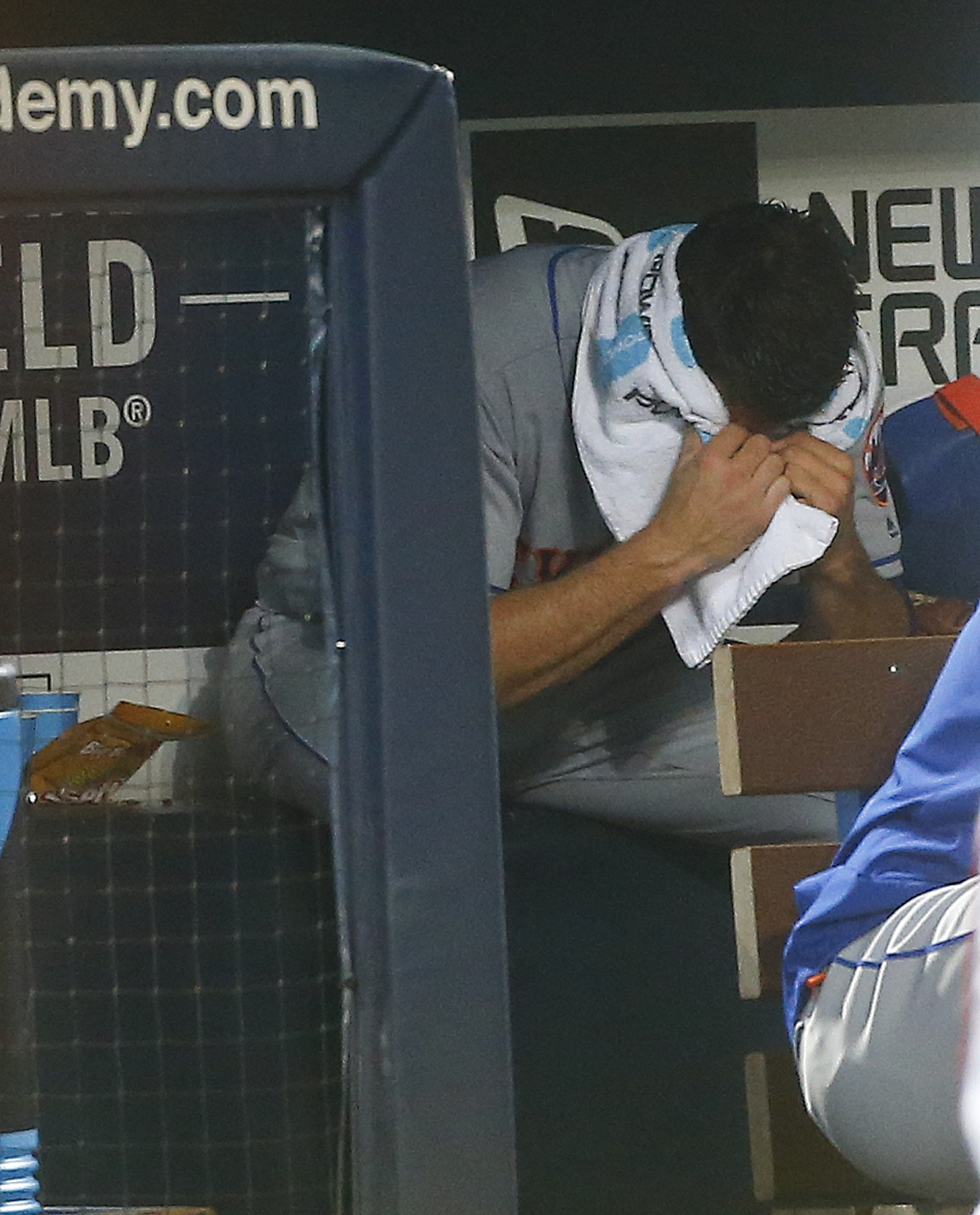 New York Mets starting pitcher Steven Matz sits on the bench after being relieved in the fifth inning of a baseball game against the Atlanta Braves, Friday, June 24, 2016, in Atlanta. (AP Photo/John Bazemore)